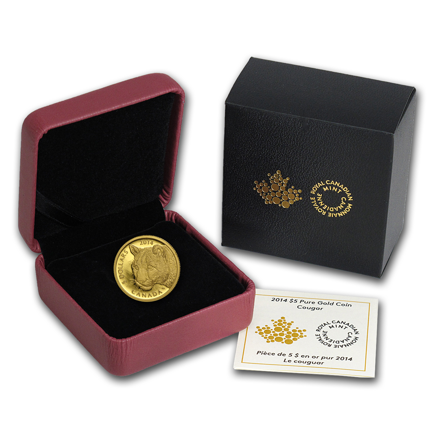 2014 Canada 1/10 oz Proof Gold $5 Cougar (w/Box & COA)