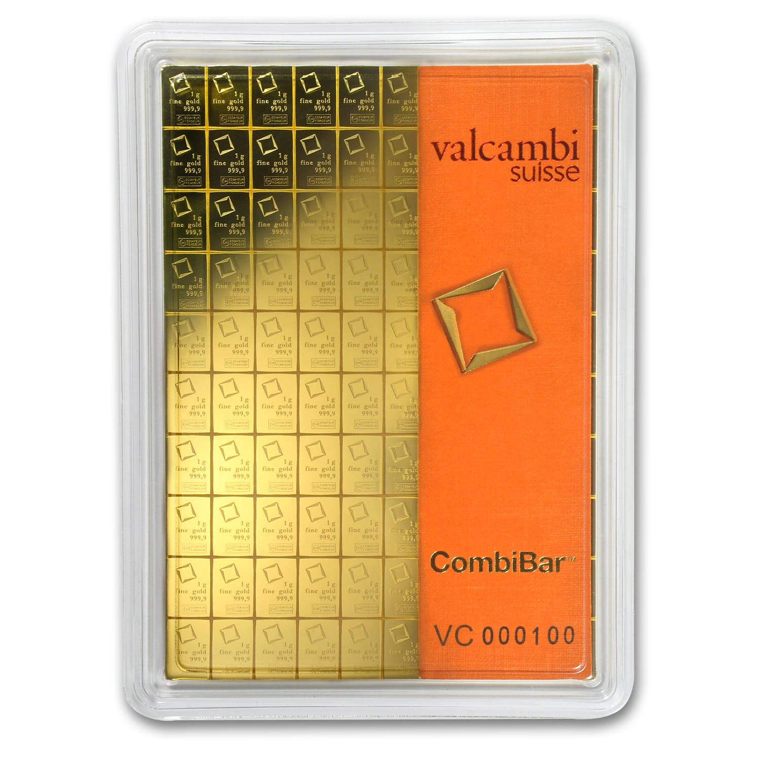 100x 1 gram Gold CombiBar™ - Valcambi (In Assay)