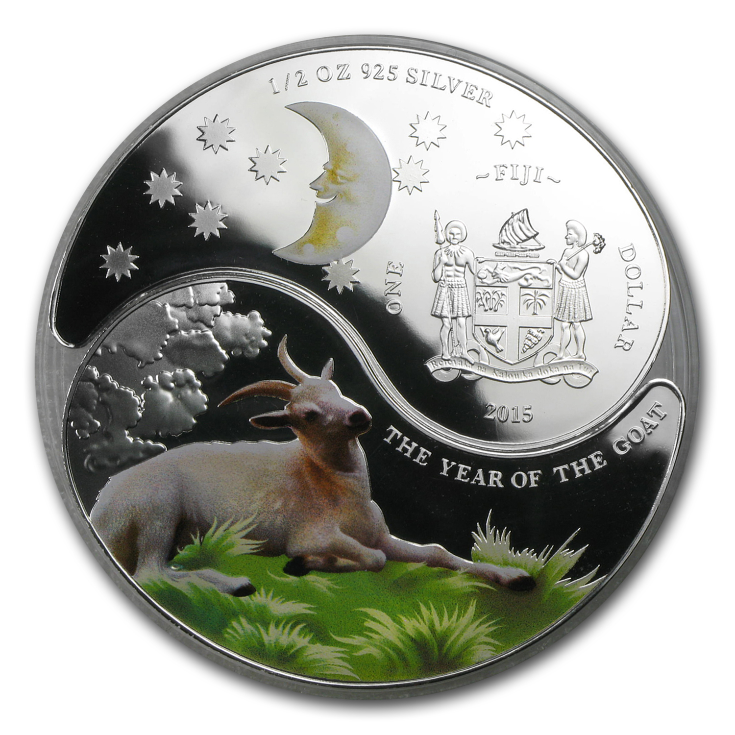 2015 1 oz Silver Fiji $2 Lunar Goat Ying Yang Set Proof