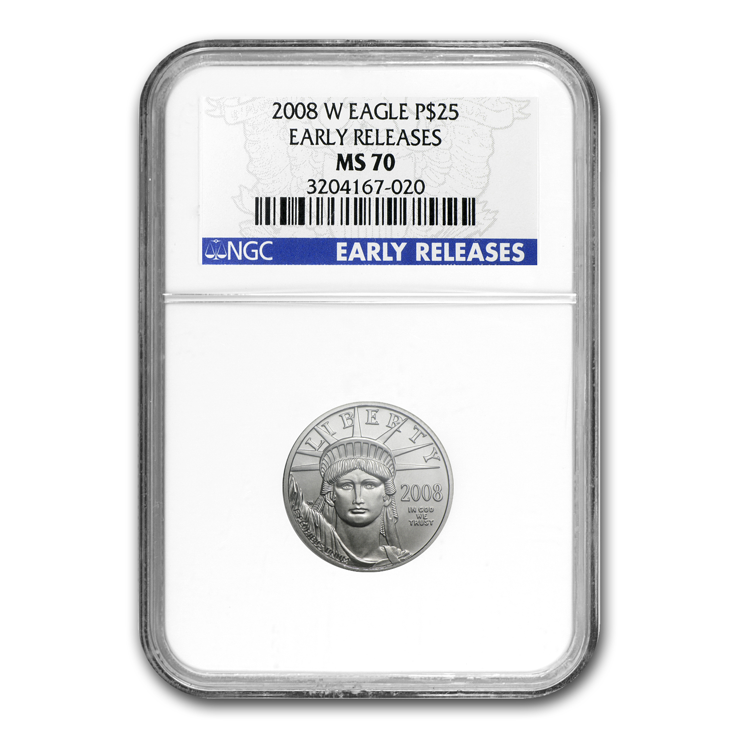 2008-W 1/4 oz Burnished Platinum American Eagle MS-70 NGC (ER)