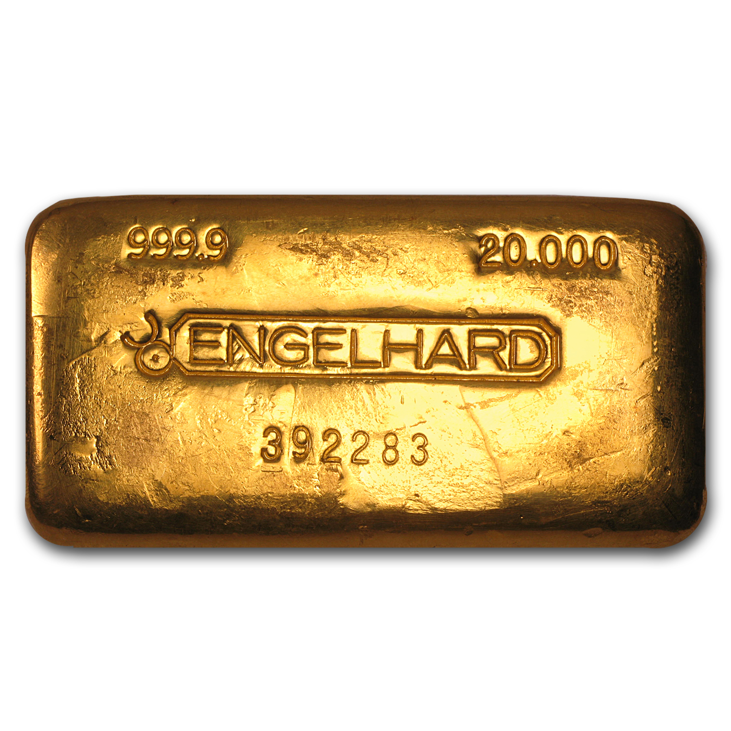 20 oz Gold Bar - Engelhard (Poured/Loaf-Style, Bull Logo)