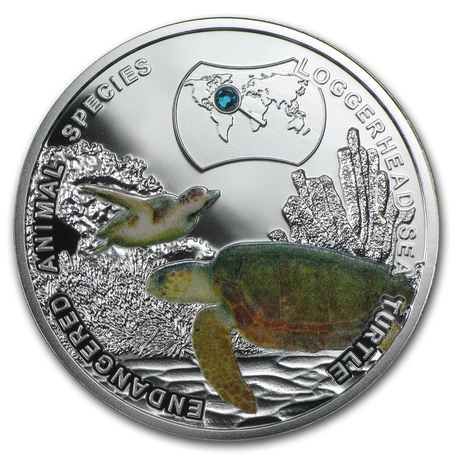 2014 Niue Silver Endangered Species Loggerhead Sea Turtle Proof