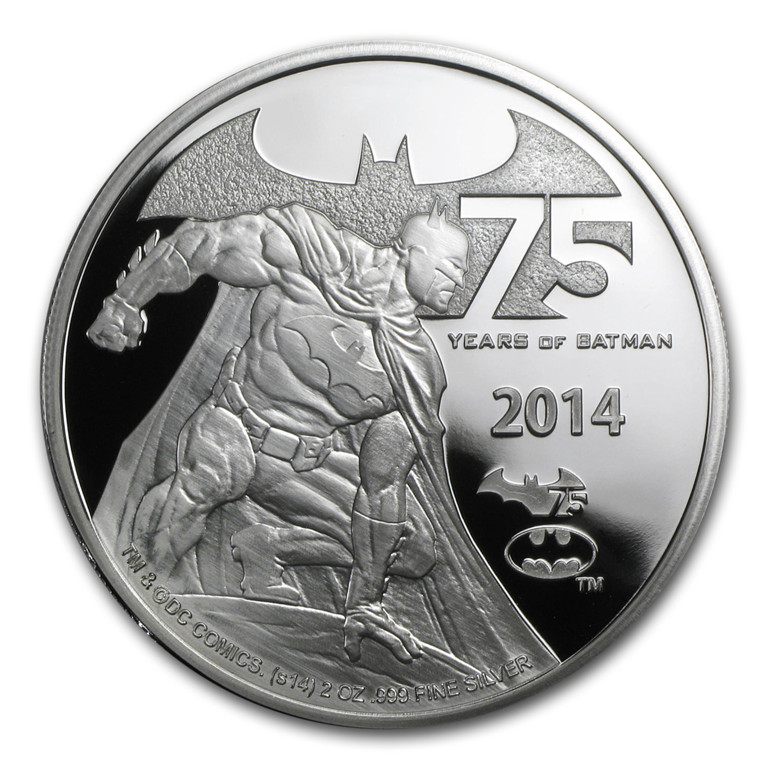 2014 Niue 2 Oz Silver 75 Years Of Batman Proof Silver