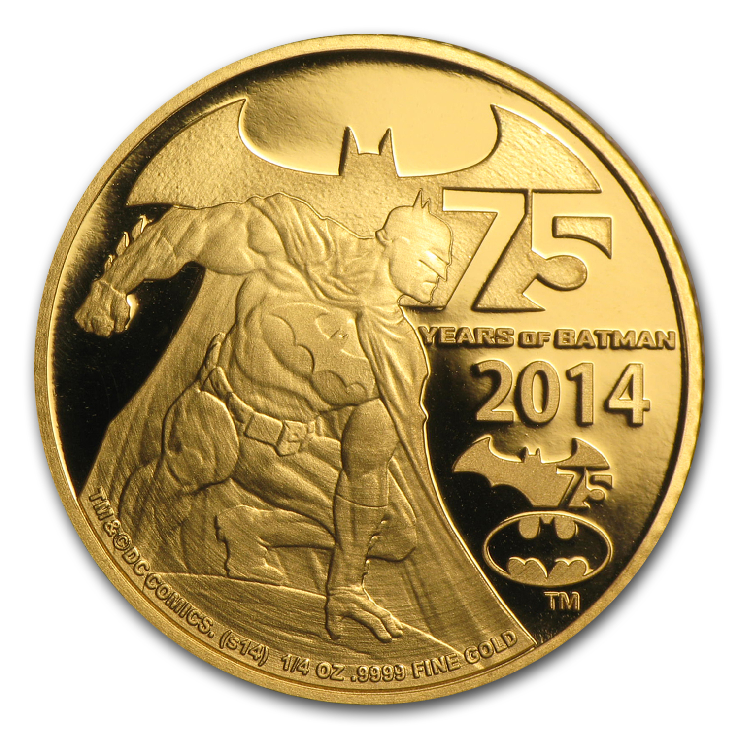 2014 Niue 1/4 oz Proof Gold 75 Years of Batman