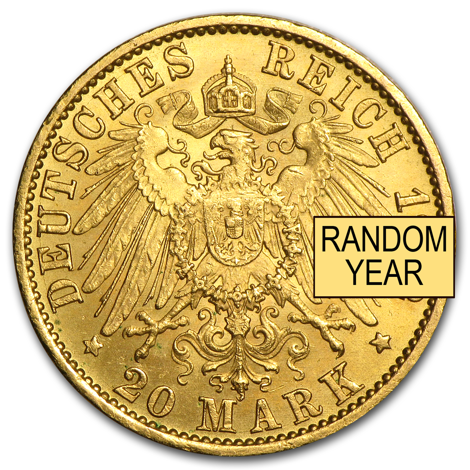 1888-1913 Germany Gold 20 Marks Prussia William II AU (Random)