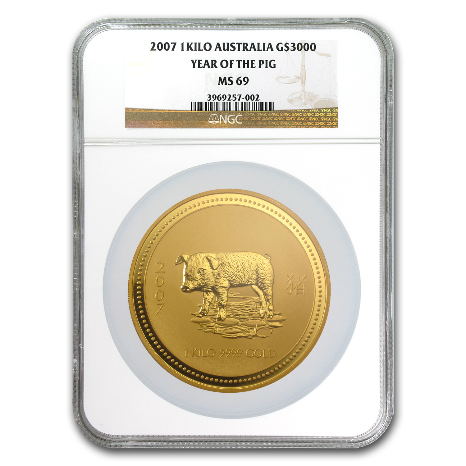 2007 1 kilo Gold Lunar Year of the Pig MS-69 NGC (Series I)