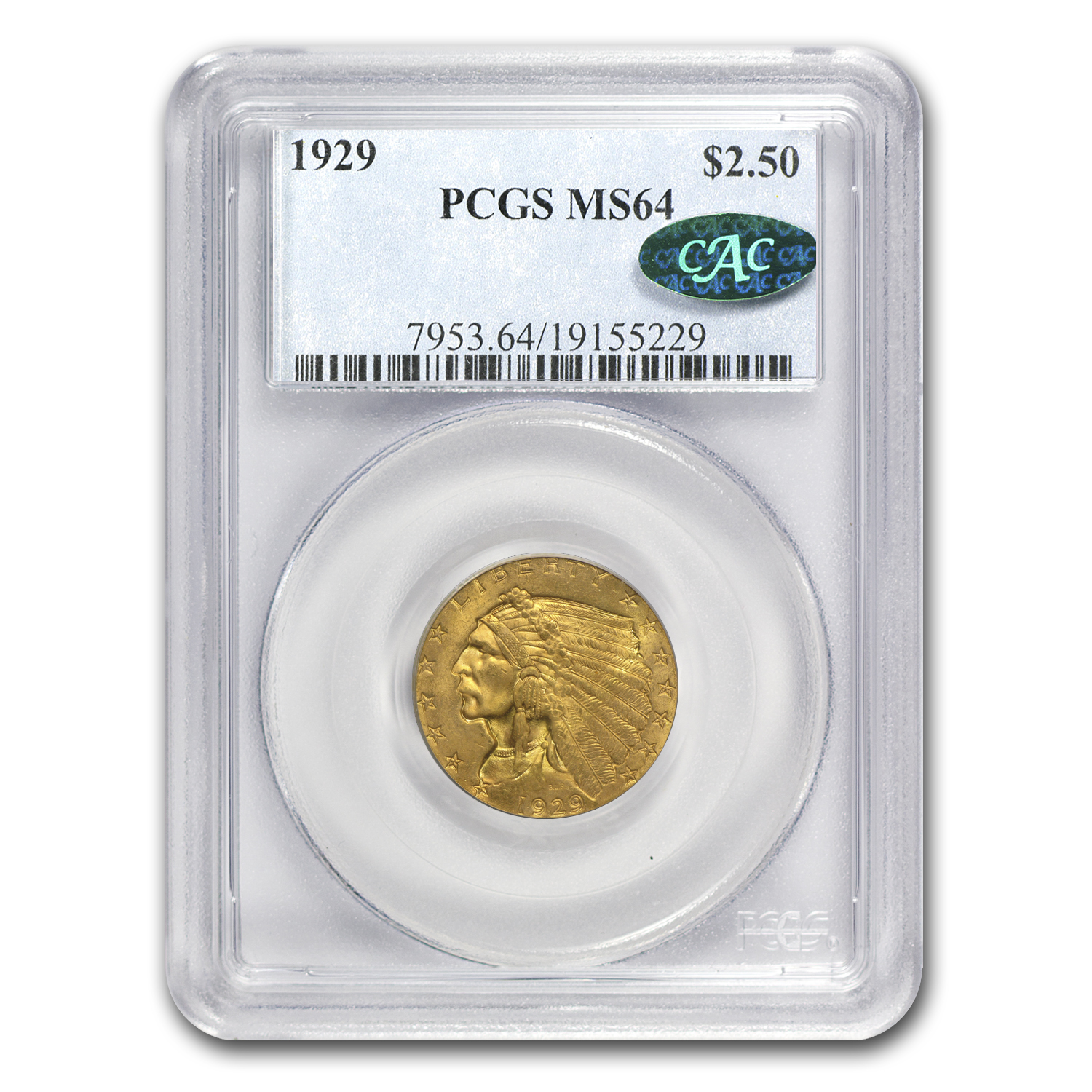 $2.50 Indian Gold Quarter Eagle MS-64 NGC/PCGS (CAC)