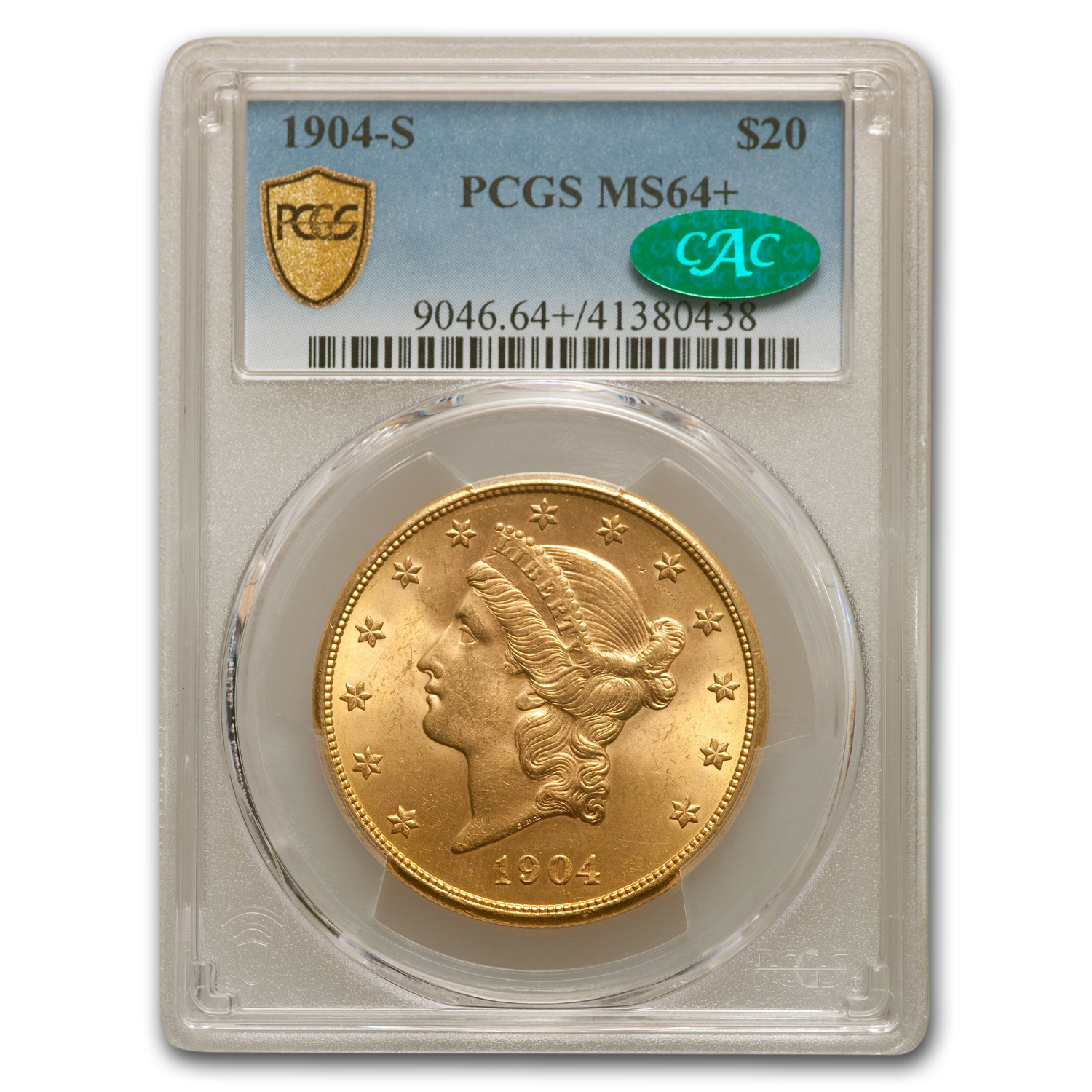 1904-S $20 Liberty Gold Double Eagle MS-64+ PCGS CAC