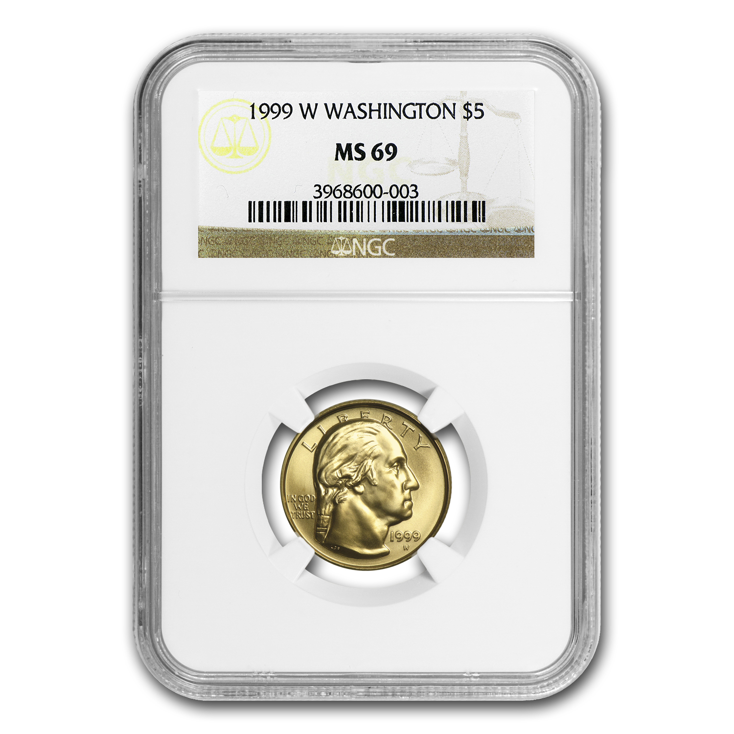 1999-W Gold $5 Commem George Washington MS-69 NGC