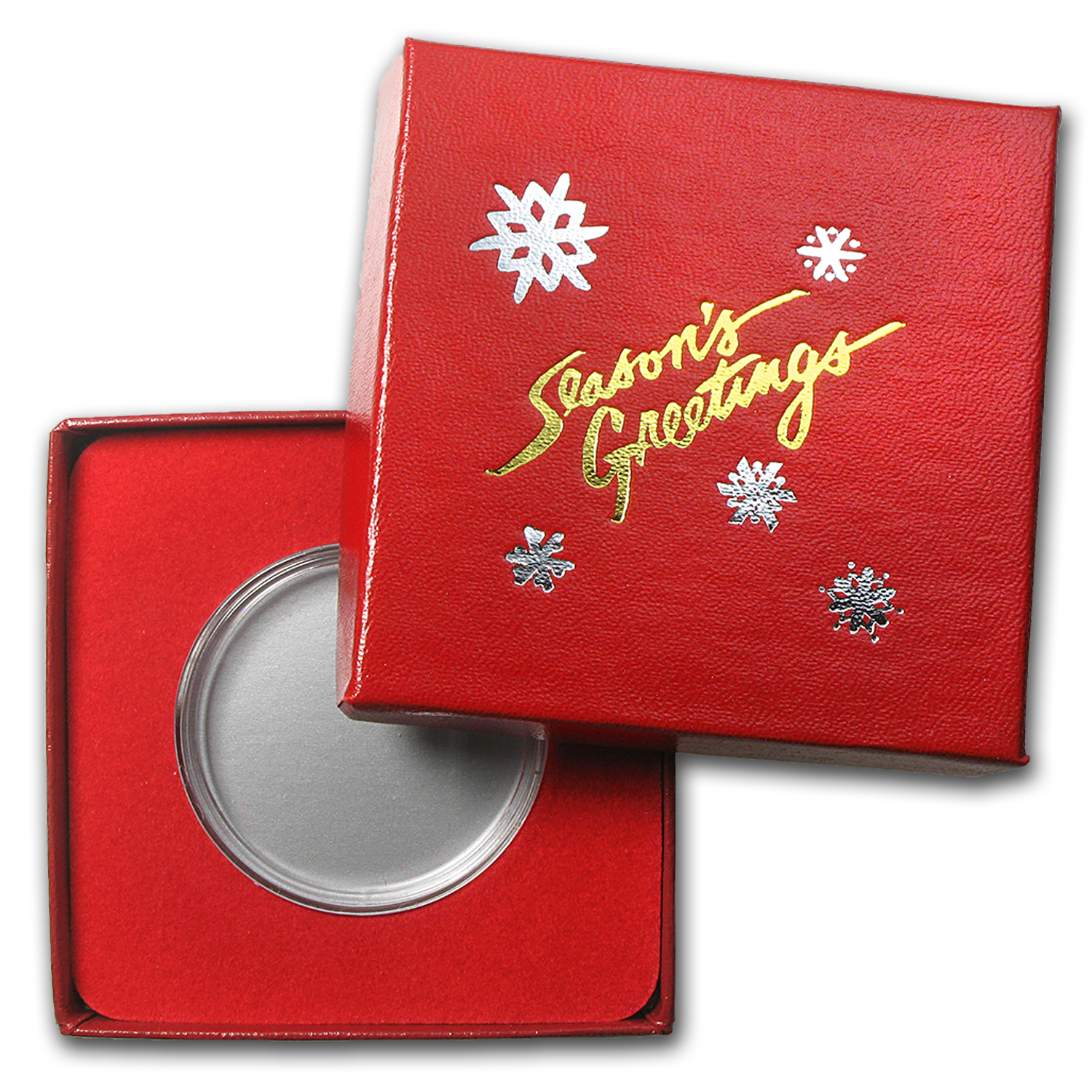 Season's Greetings Red Gift Box for Silver Round (39mm) w/Capsule