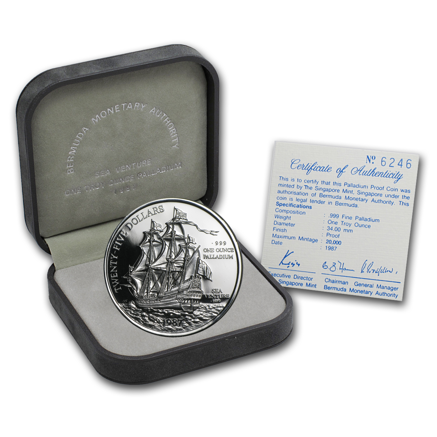 1987 Bermuda 1 oz Palladium Sea Venture Proof (w/Box & COA)