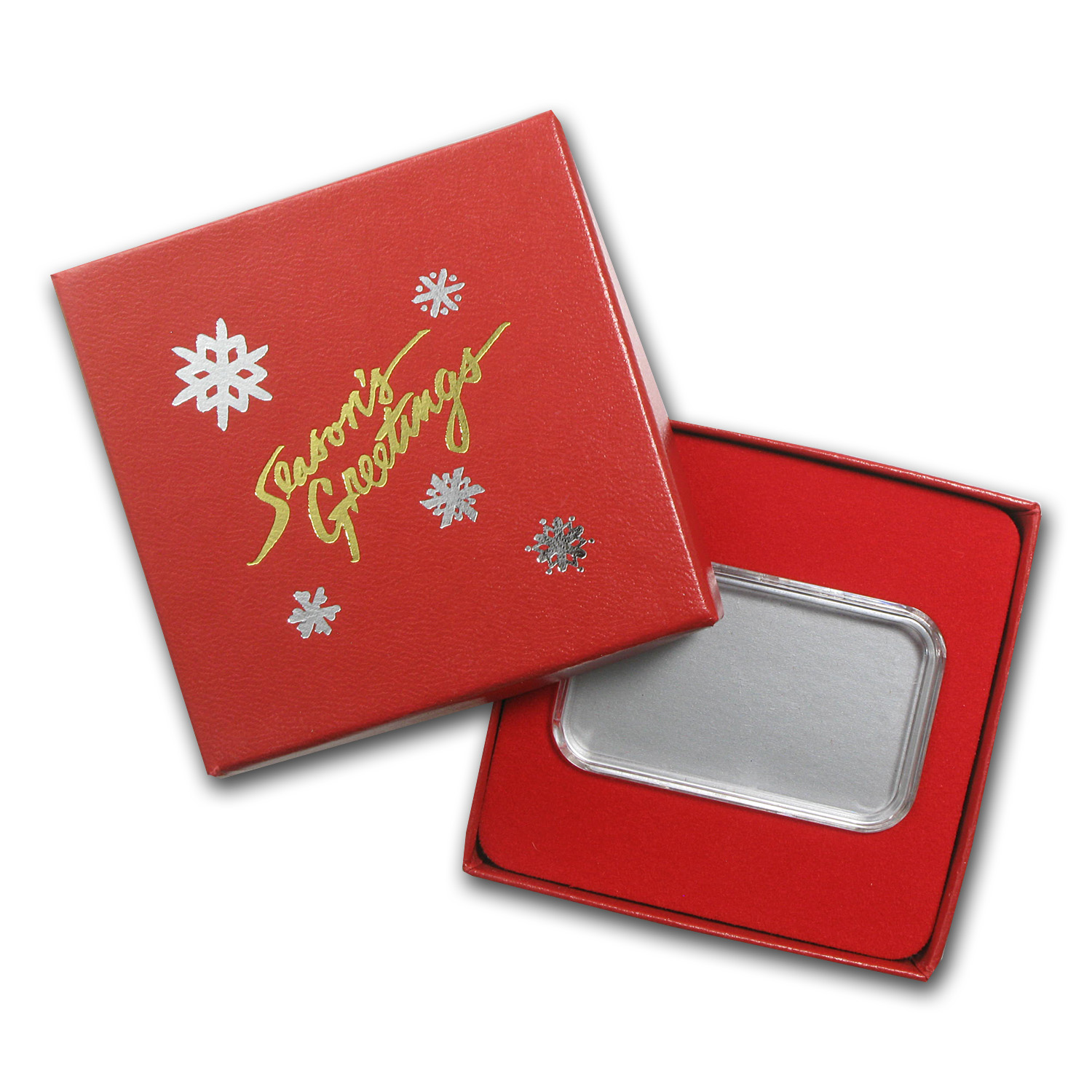 Season's Greetings Red Gift Box for 1 oz Silver Bars