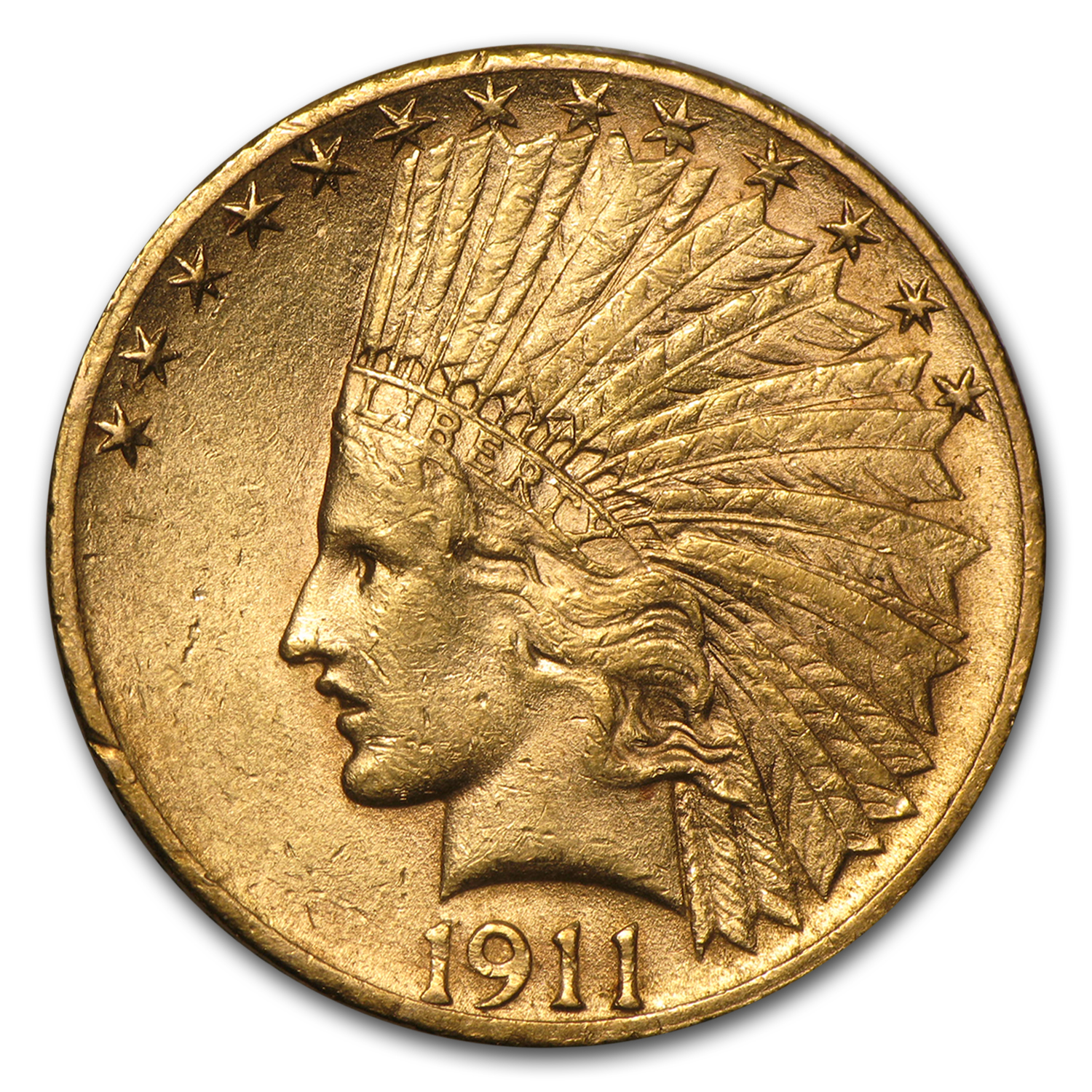 1911-S $10 Indian Gold Eagle AU