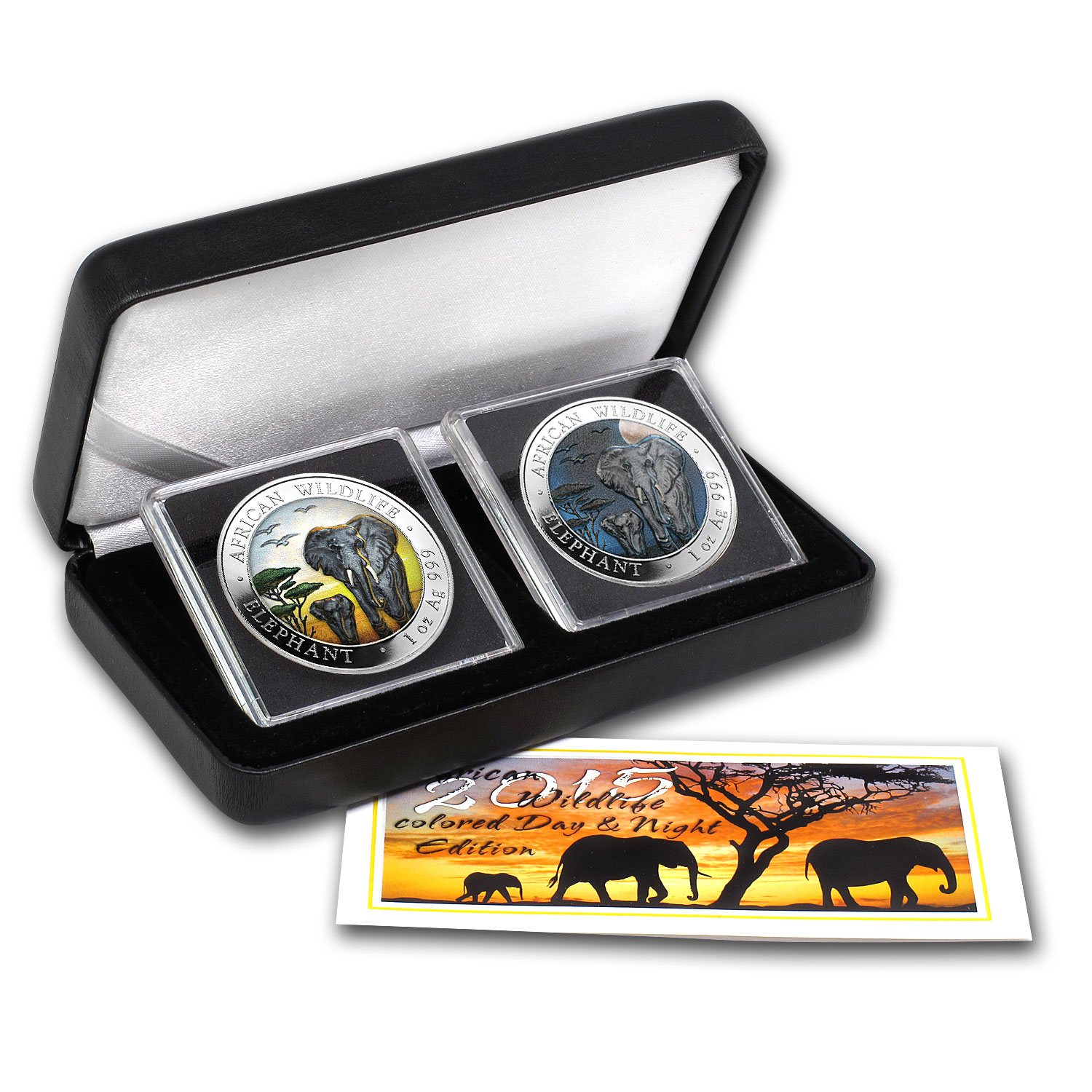 2015 Somalia 2-Coin 1 oz Silver Elephant Set Day/Night (Colored)
