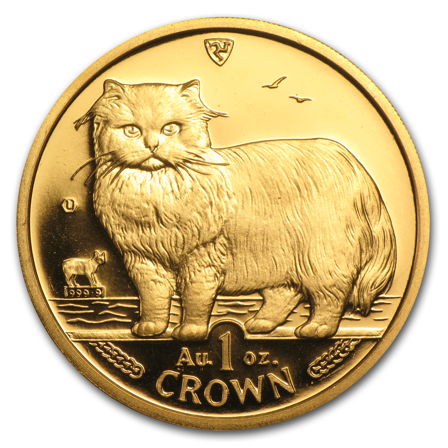 1989 Isle of Man 1 oz Gold Persian Cat BU