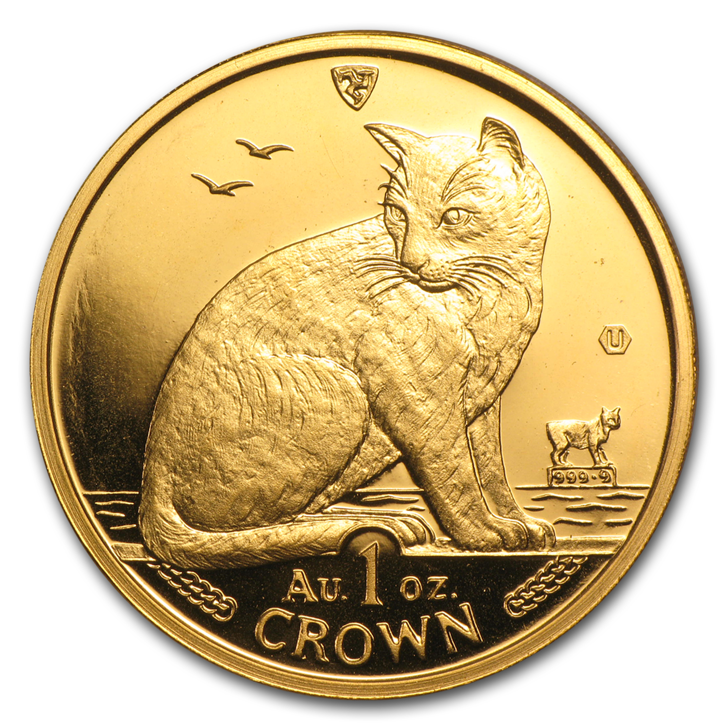 1990 Isle of Man 1 oz Gold New York Alley Cat BU