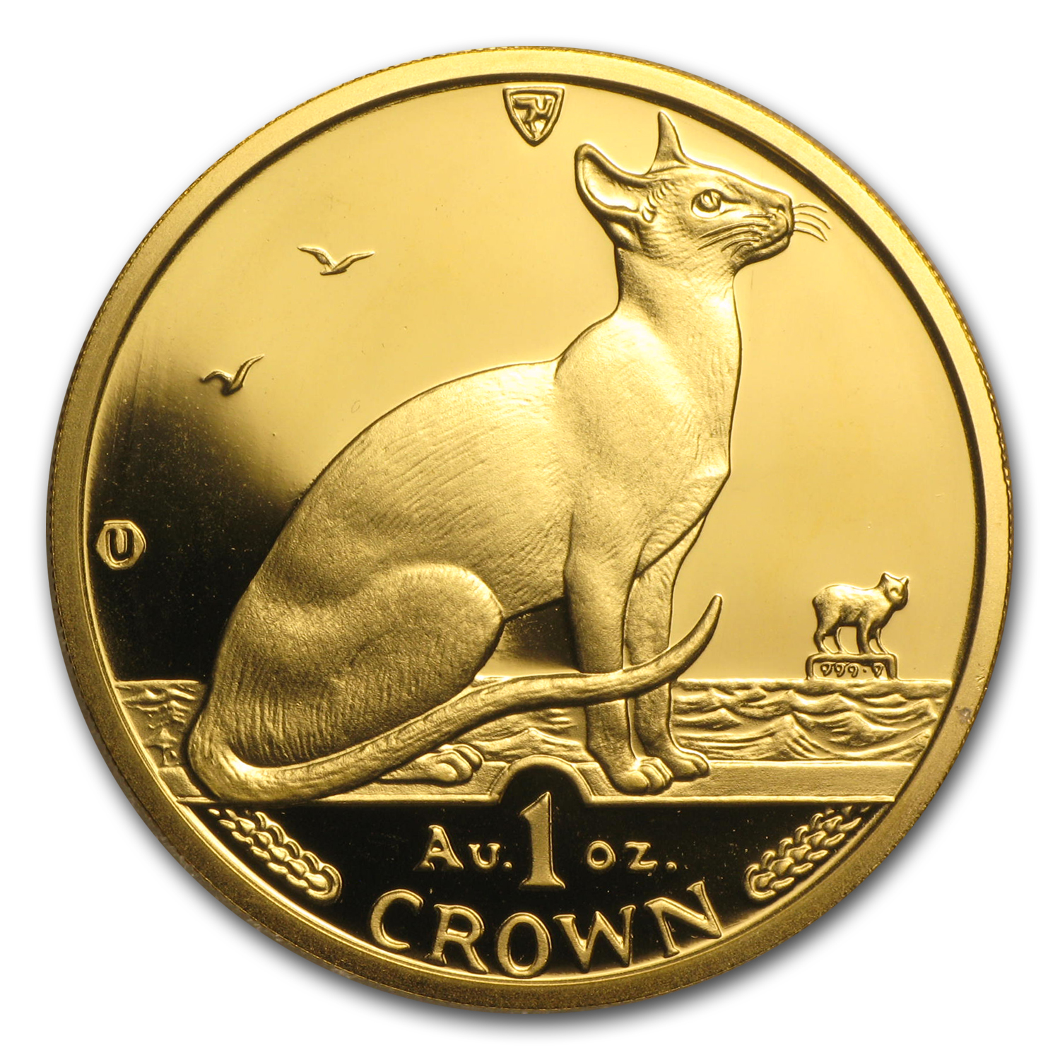 1992 Isle of Man 1 oz Gold Siamese Cat BU