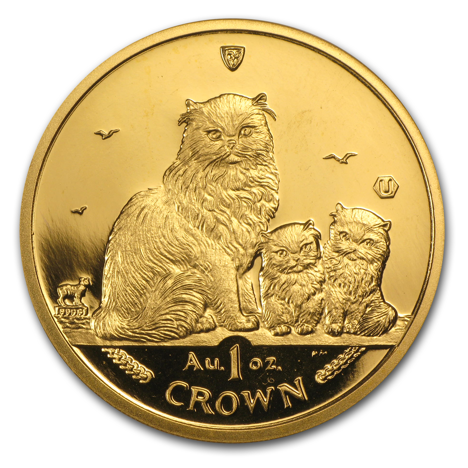 2005 Isle of Man 1 oz Gold Himalayan Cat and Kittens BU