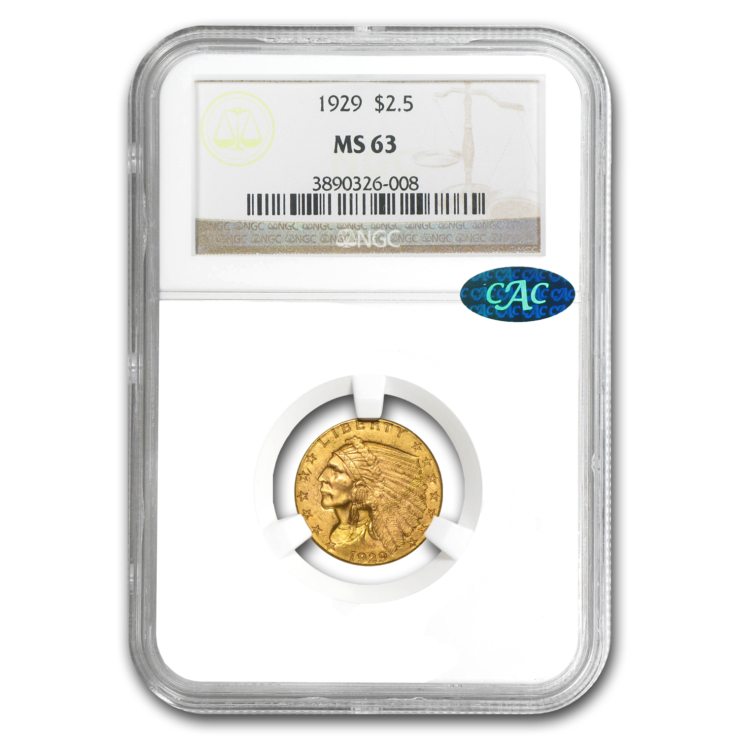 $2.50 Indian Gold Quarter Eagle MS-63 NGC or PCGS (CAC)
