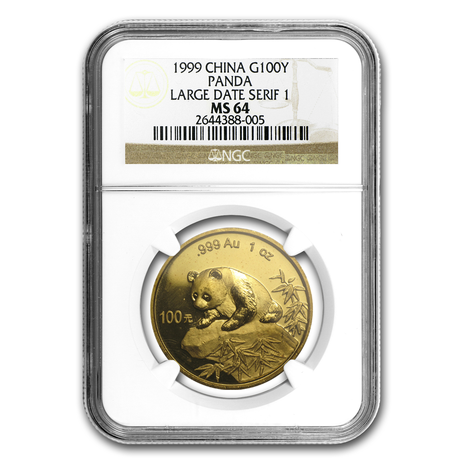 1999 China 1 oz Gold Panda Large Date/Serif 1 MS-64 NGC