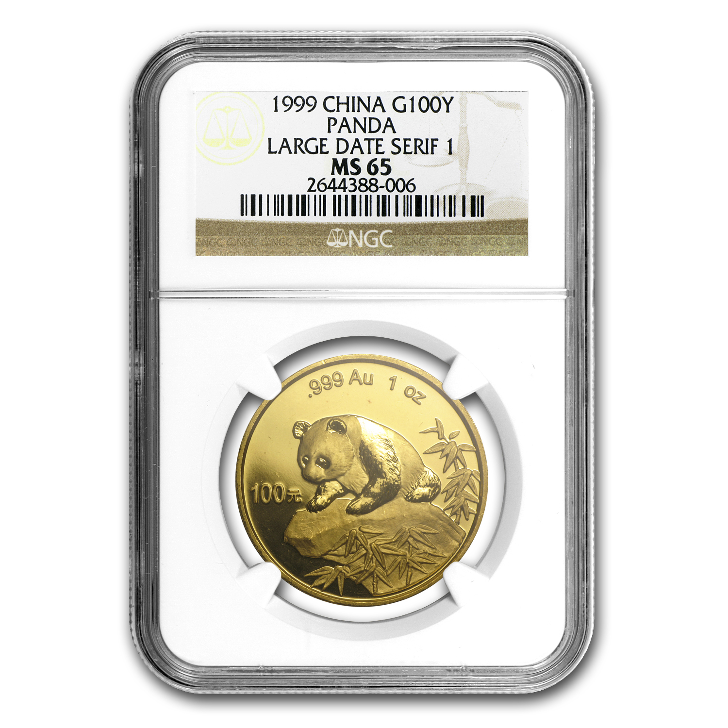 1999 China 1 oz Gold Panda Large Date/Serif 1 MS-65 NGC