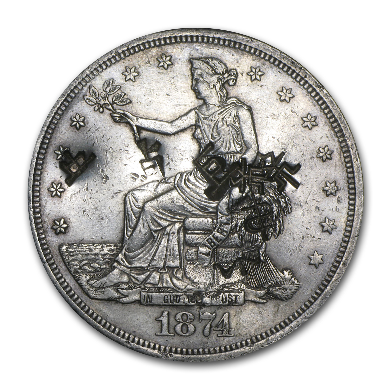 1874-CC Trade Dollar AU Details (Chopmarks)