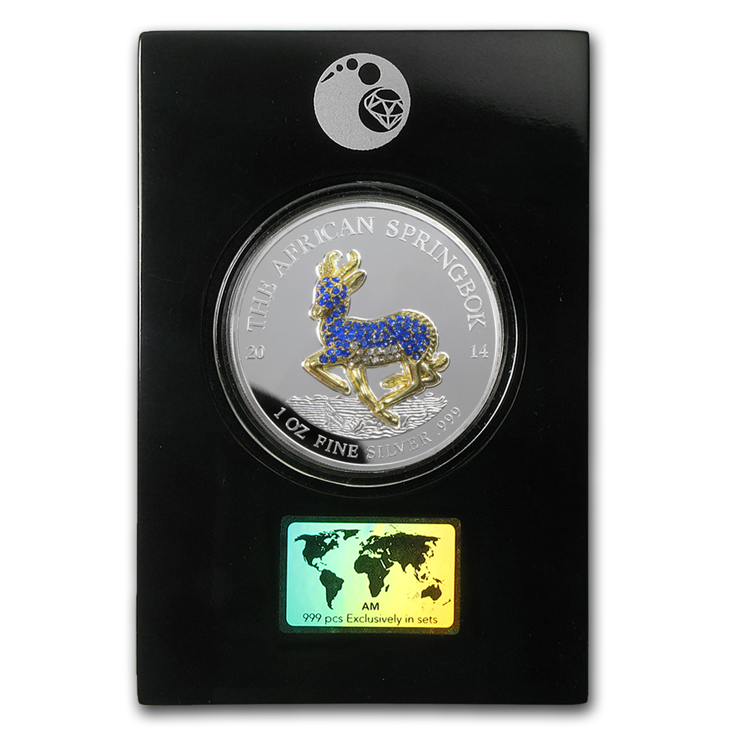 2014 Gabon 5-Coin 1 oz Silver Springbok Pavé Proof Set