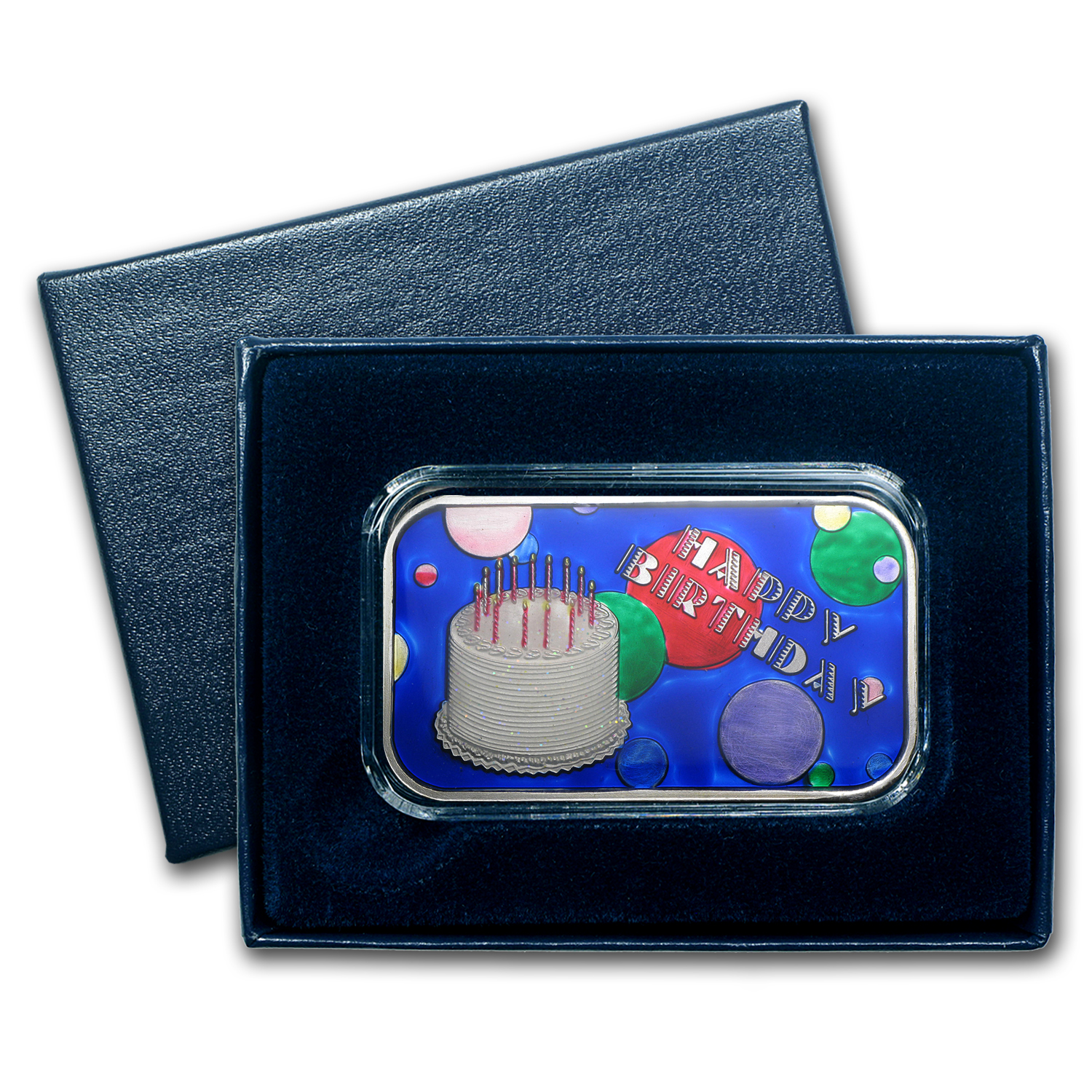 1 oz Silver Bar - Happy Birthday Cake (Enameled, w/Box & Cap)