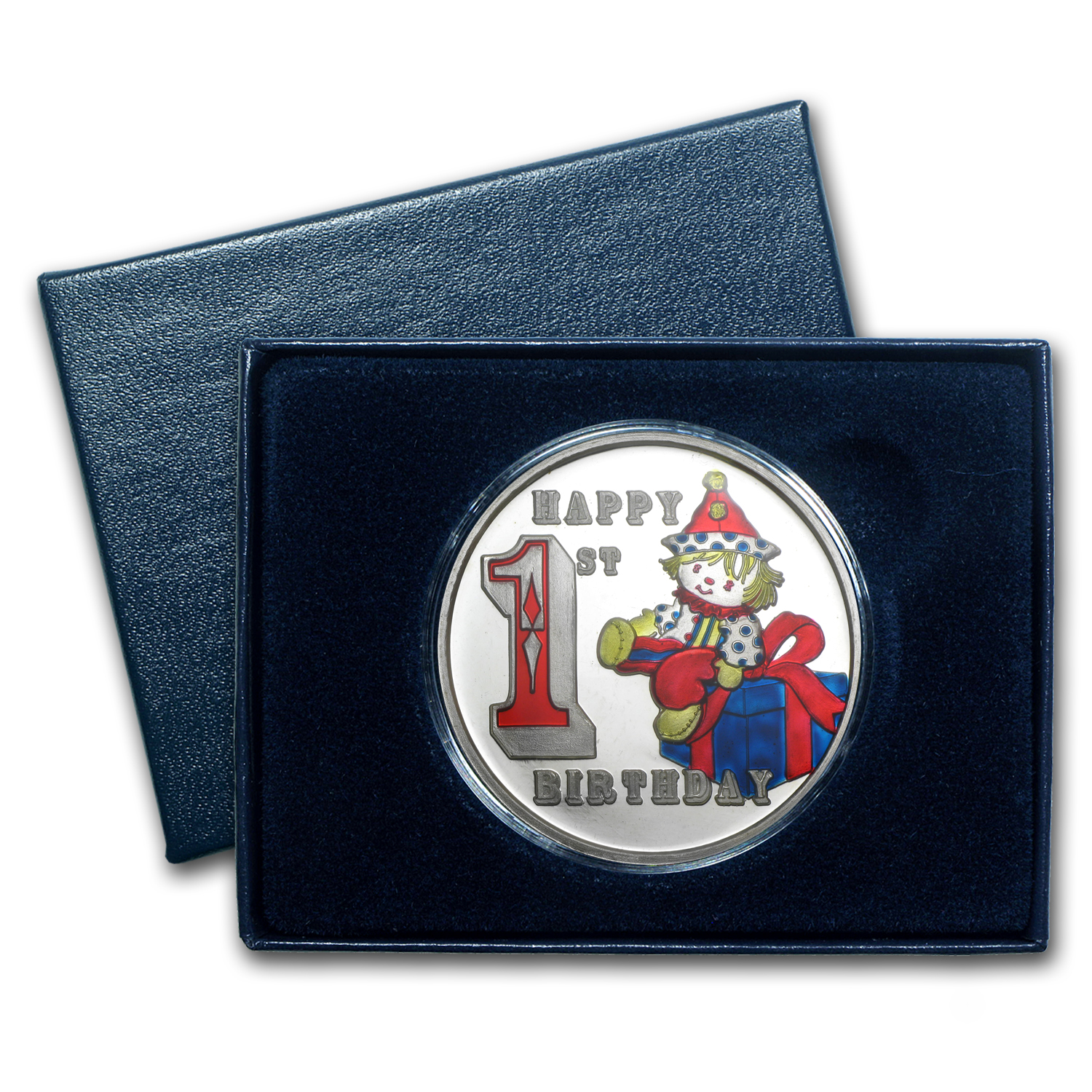 1 oz Silver Rnd - Happy First Birthday Clown (Enameled,Box & Cap)