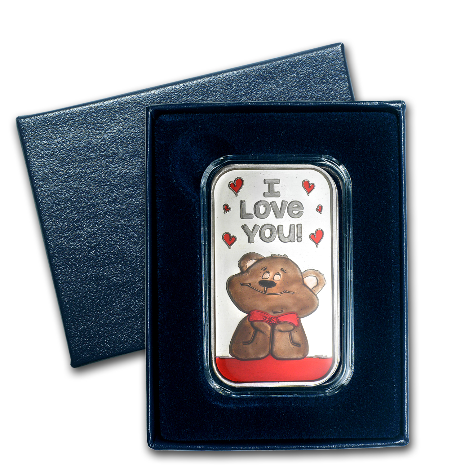 1 oz Silver Bar - I Love You Bear (Enameled, w/Box & Capsule)