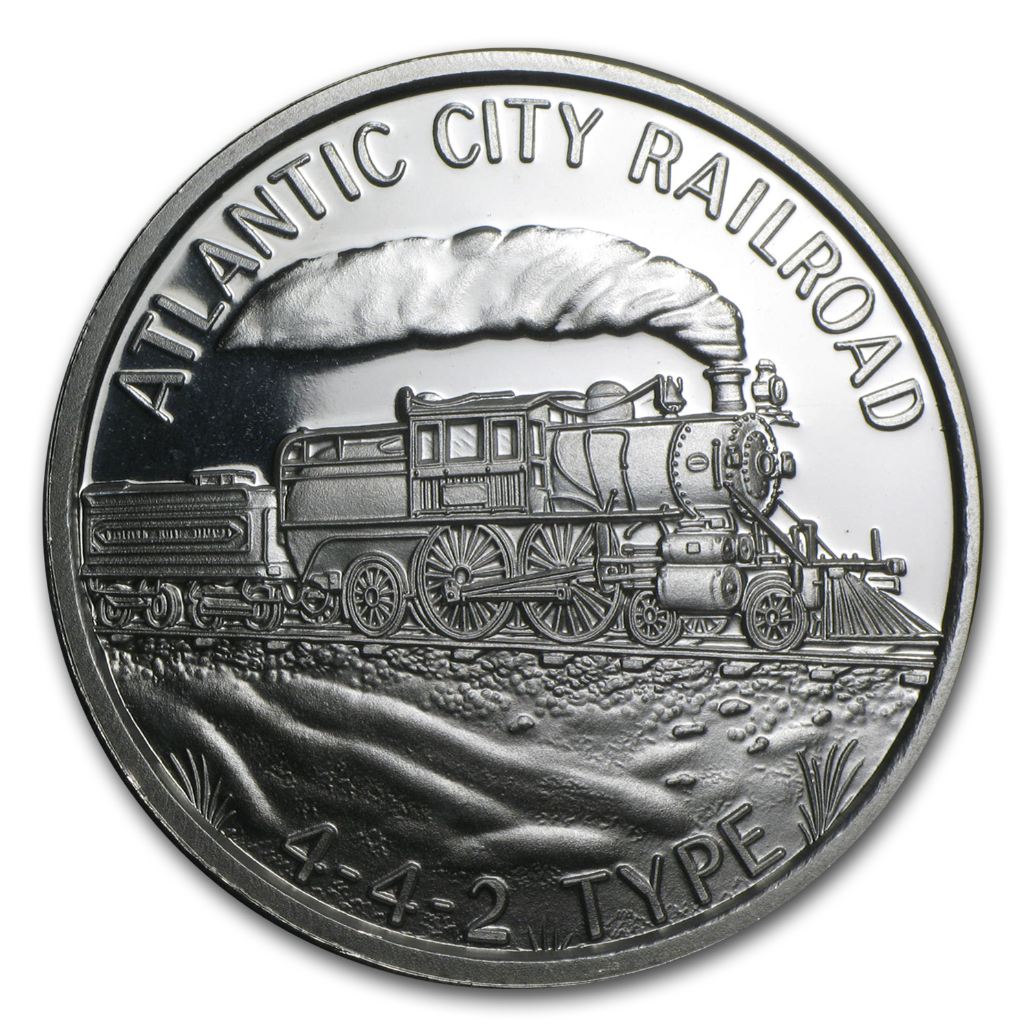 1 oz Silver Round - Train (Atlantic City Railroad 442)