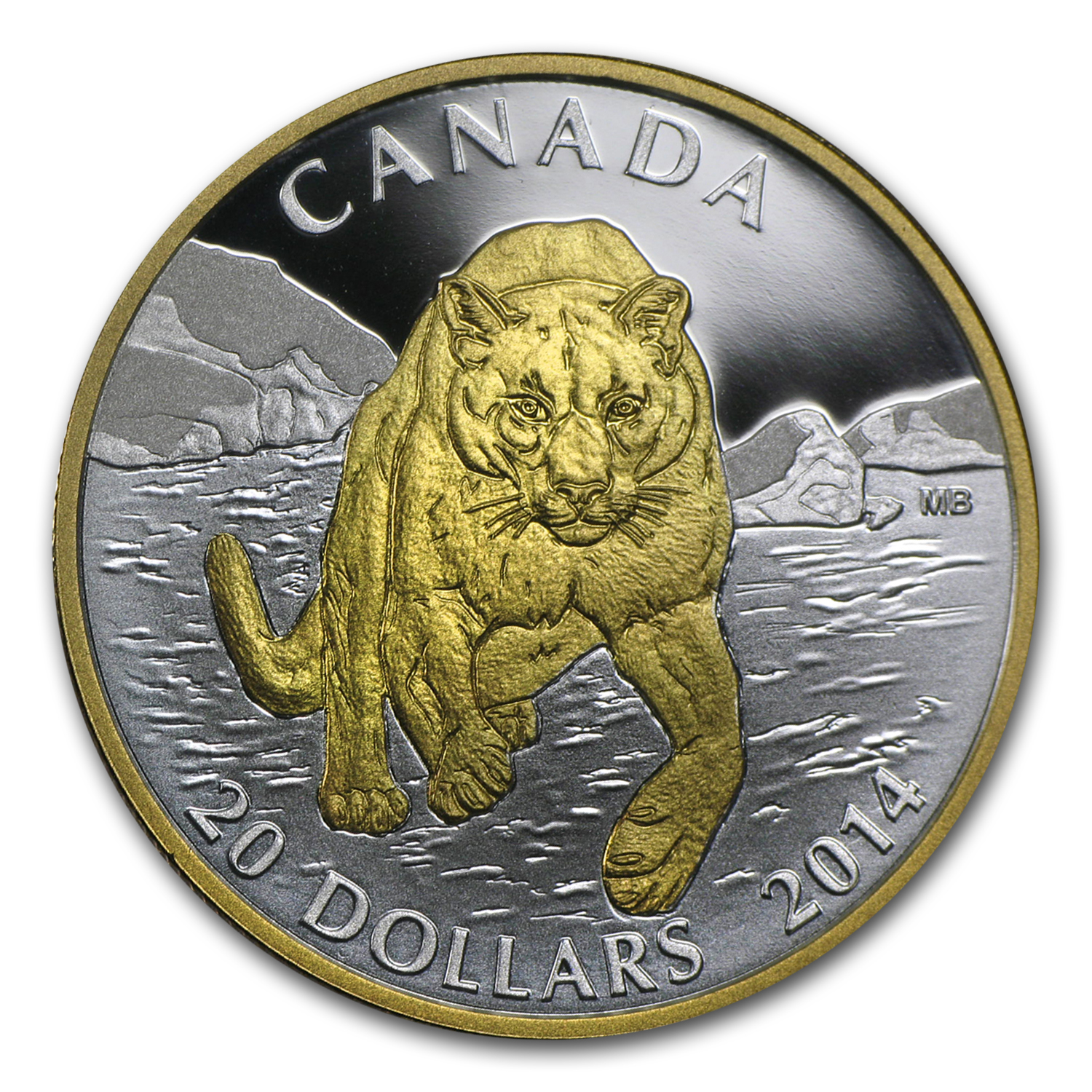 2014 Canada 1 oz Silver $20 Cougar In The Snow (Gilded)
