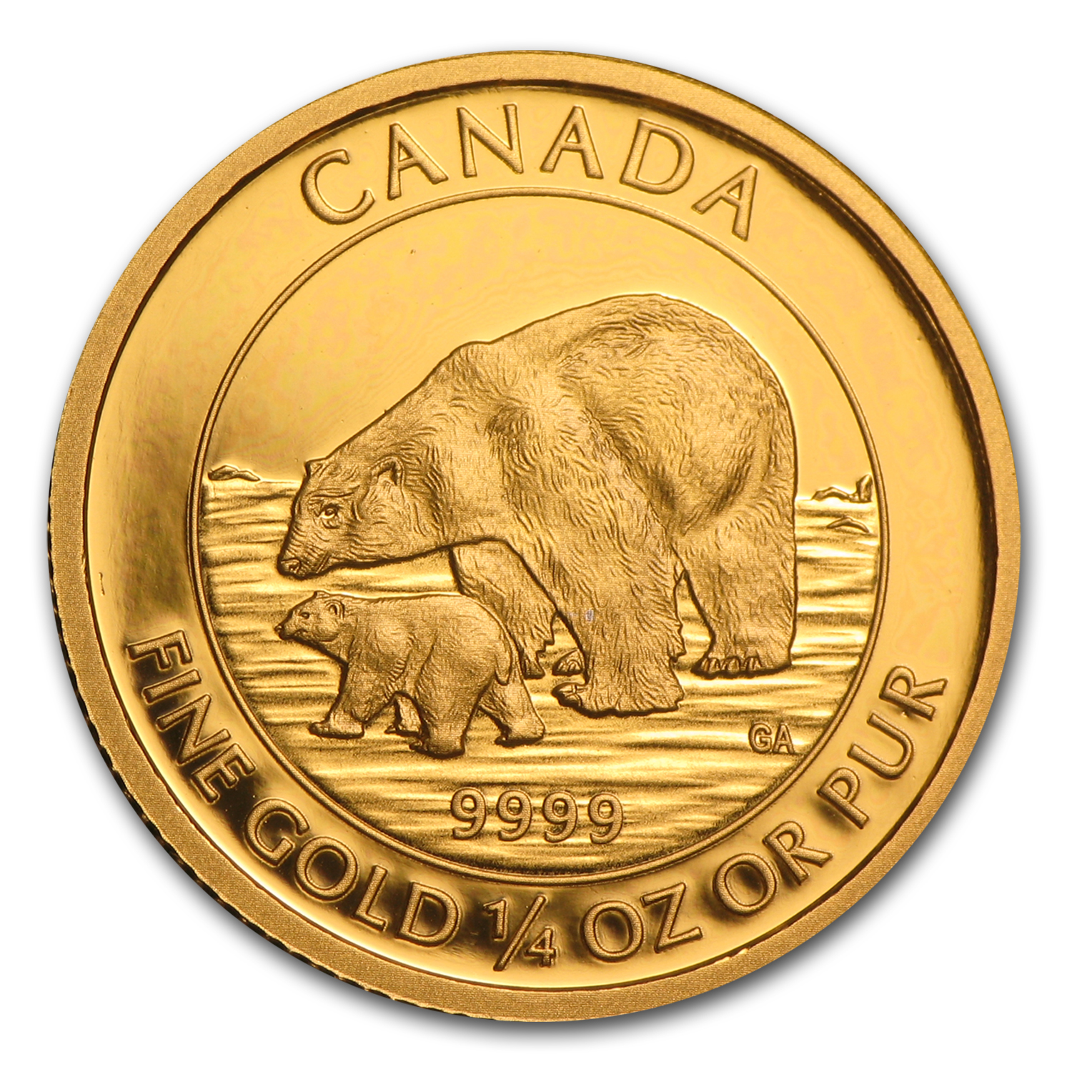 2015 Canada 1/4 oz Proof Gold $10 Polar Bear and Cub