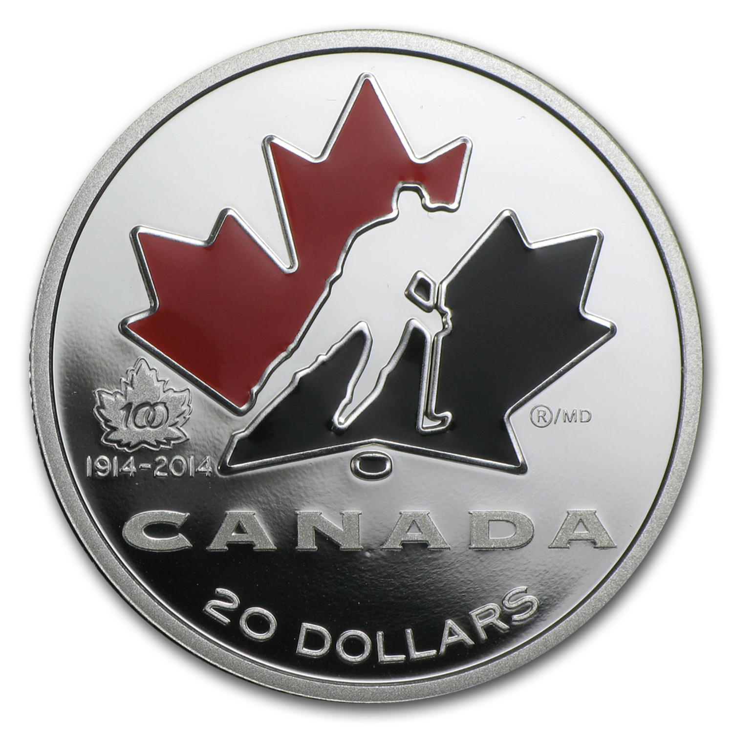 2014 Canada 1 oz Proof Silver $20 100th Anniv of Hockey Canada