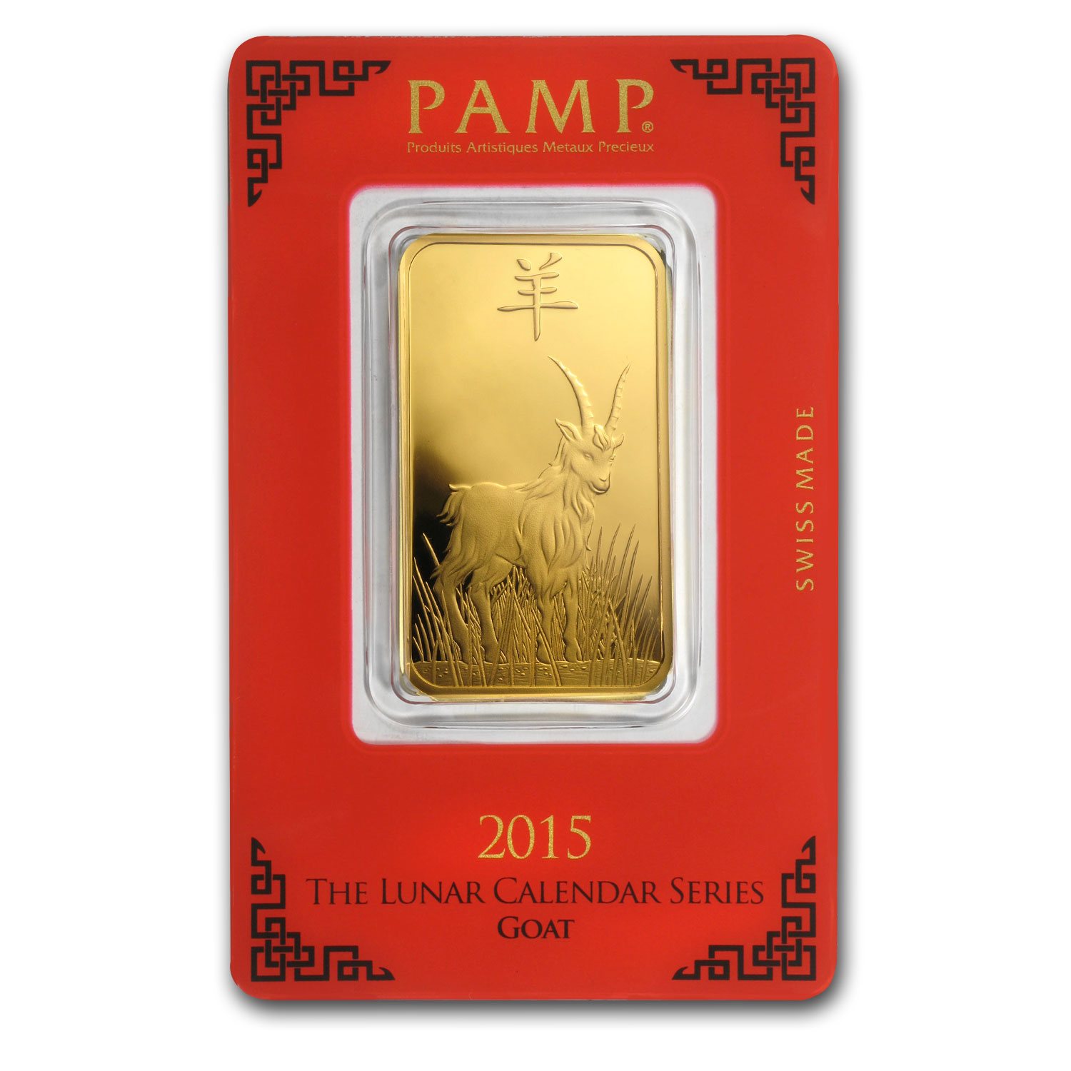 1 oz Gold Bar - Pamp Suisse (Year of the Goat, in Assay)