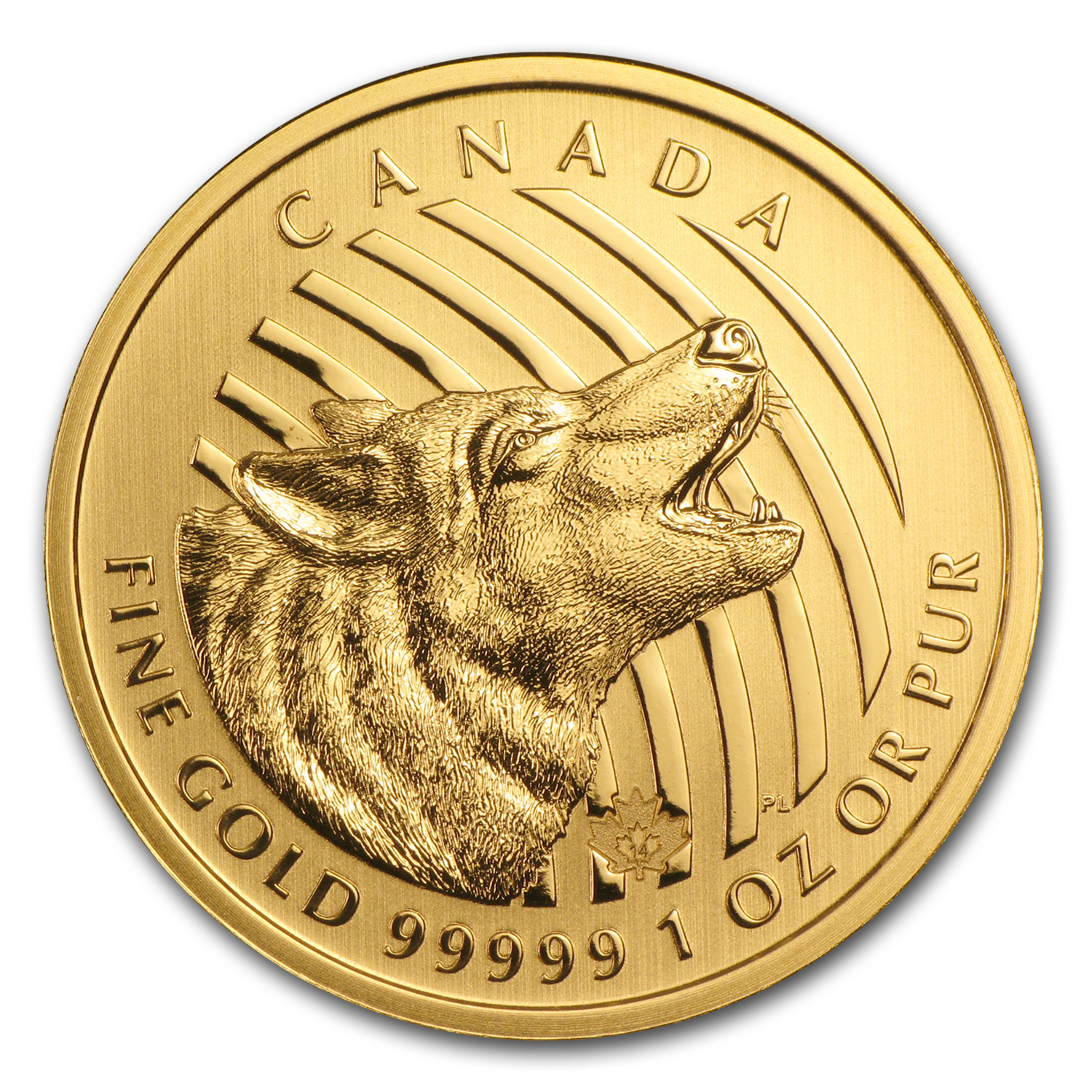 2014 Canada 1 oz Gold Howling Wolf .99999 BU (No Assay Card)