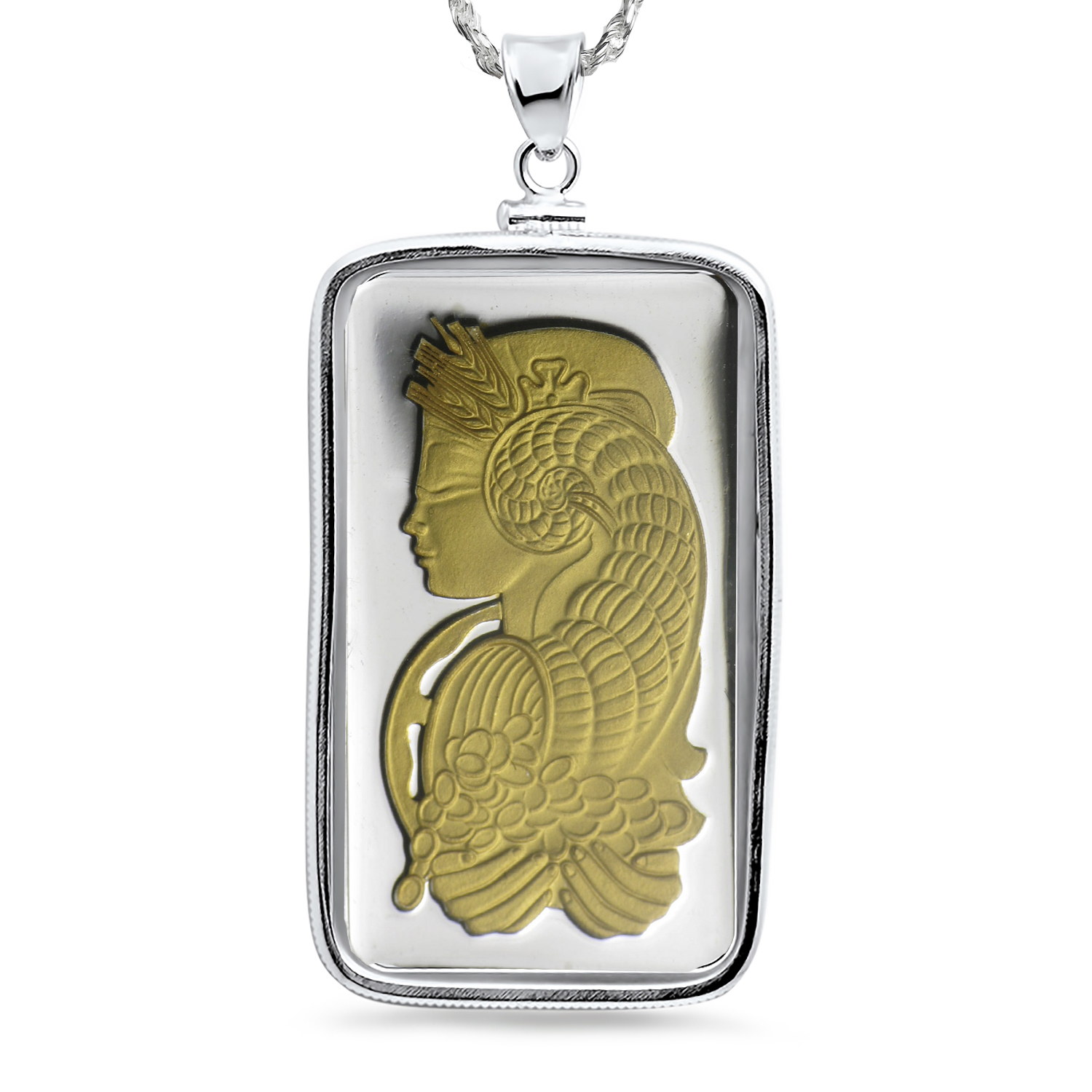 5 gram Silver - Gilded PAMP Suisse Fortuna Pendant (w/Chain)