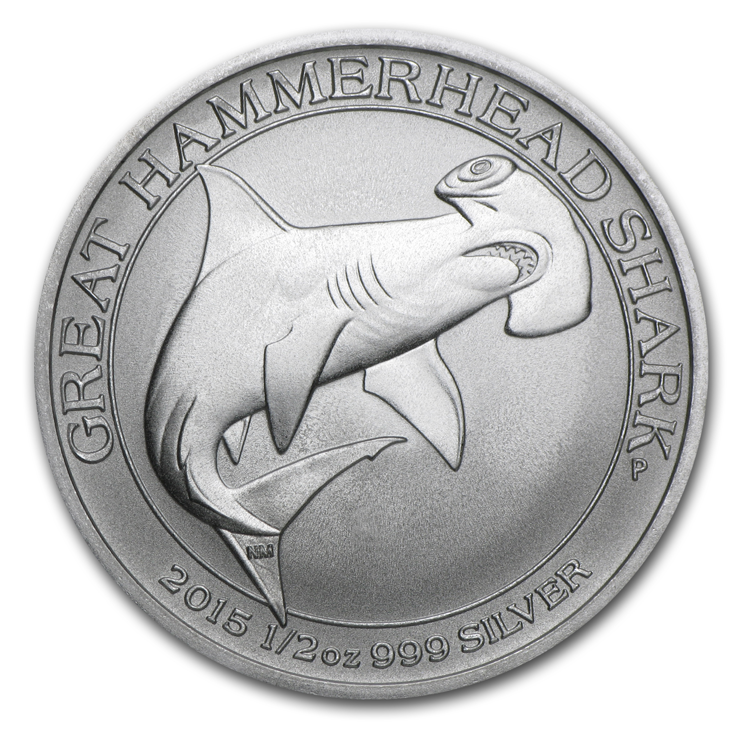 2015 Australia 1/2 oz Silver Great Hammerhead Shark BU