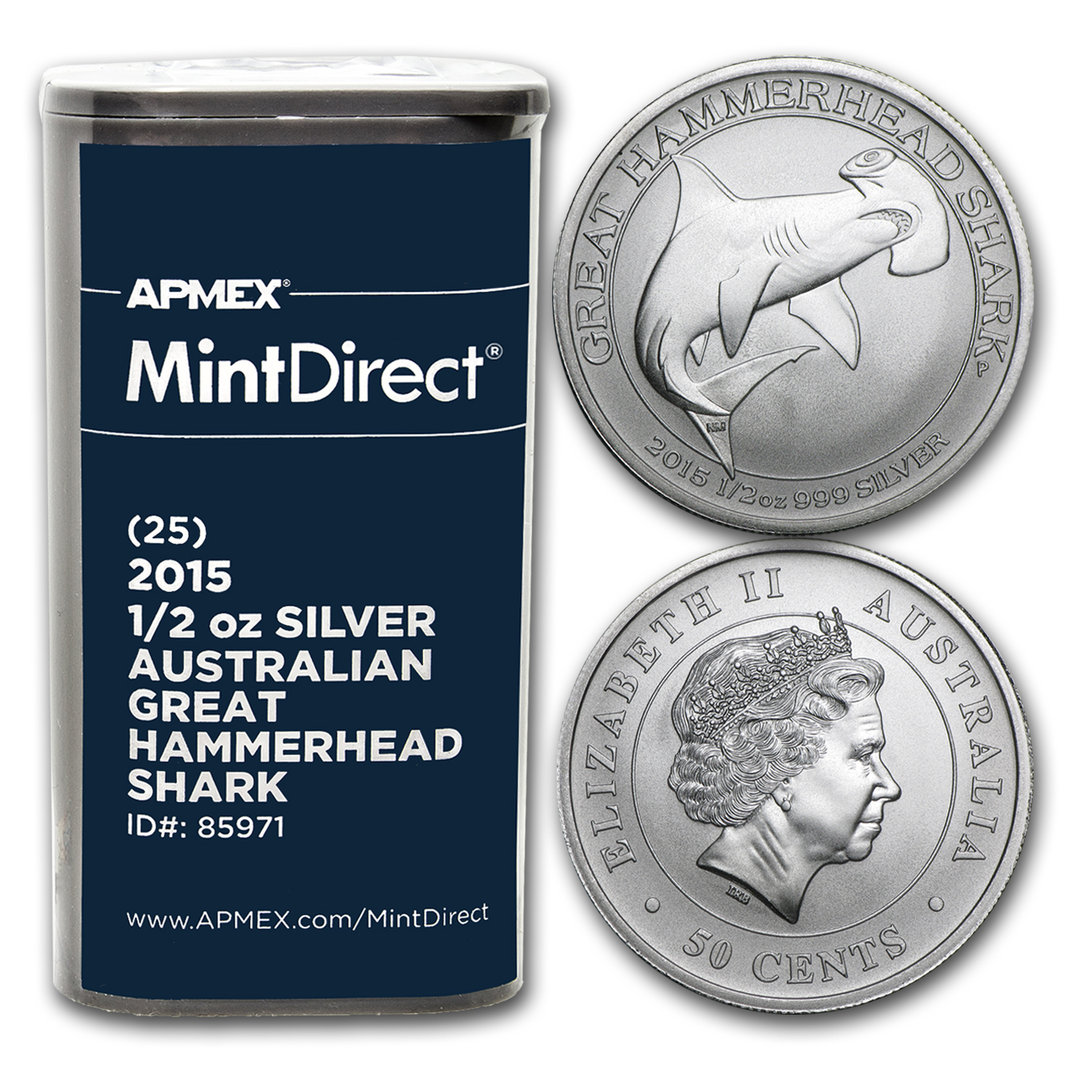 2015 1/2 oz Silver Great Hammerhead Shark (25-Coin MintDirect®)