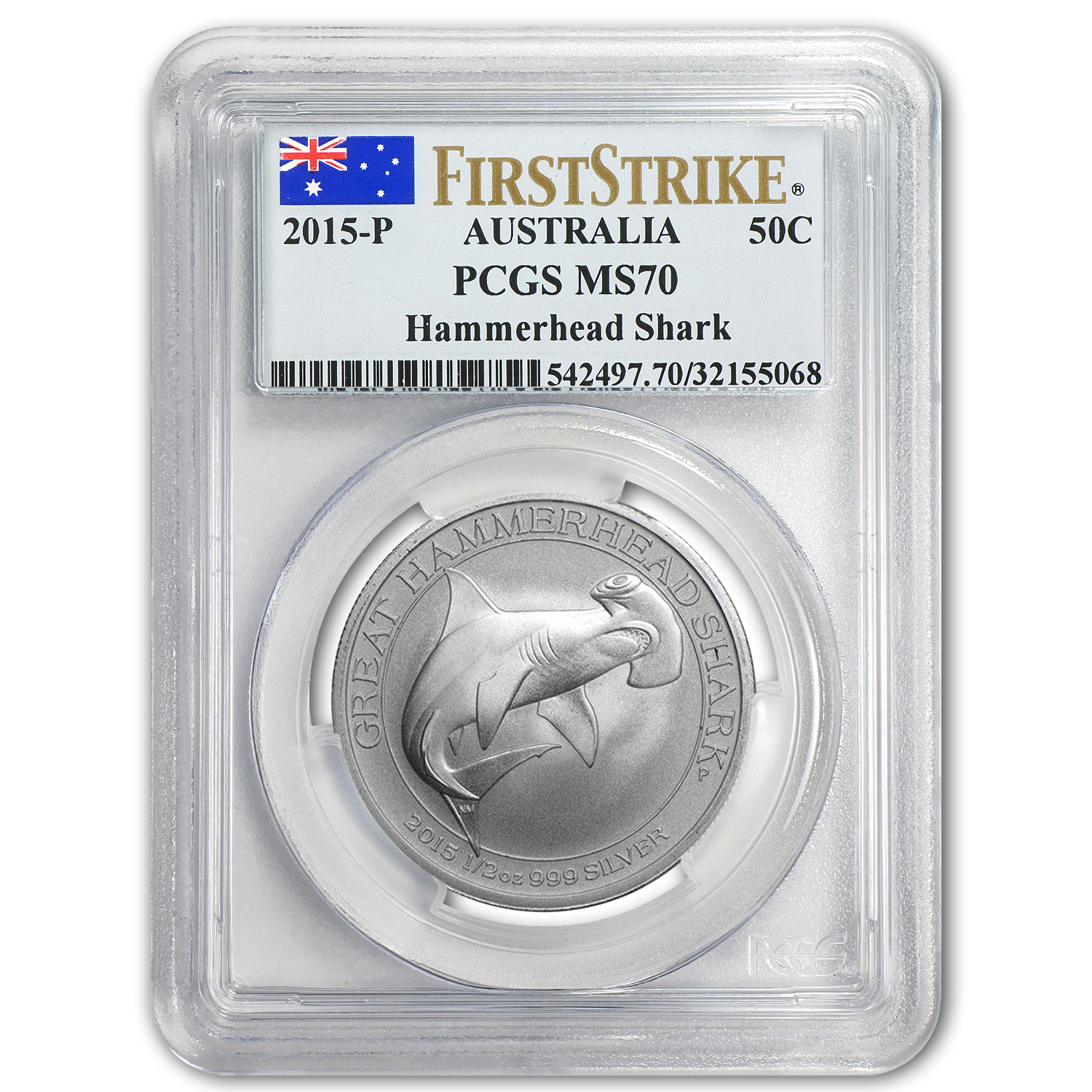 2015 1/2 oz Silver Great Hammerhead Shark MS-70 PCGS (FS)