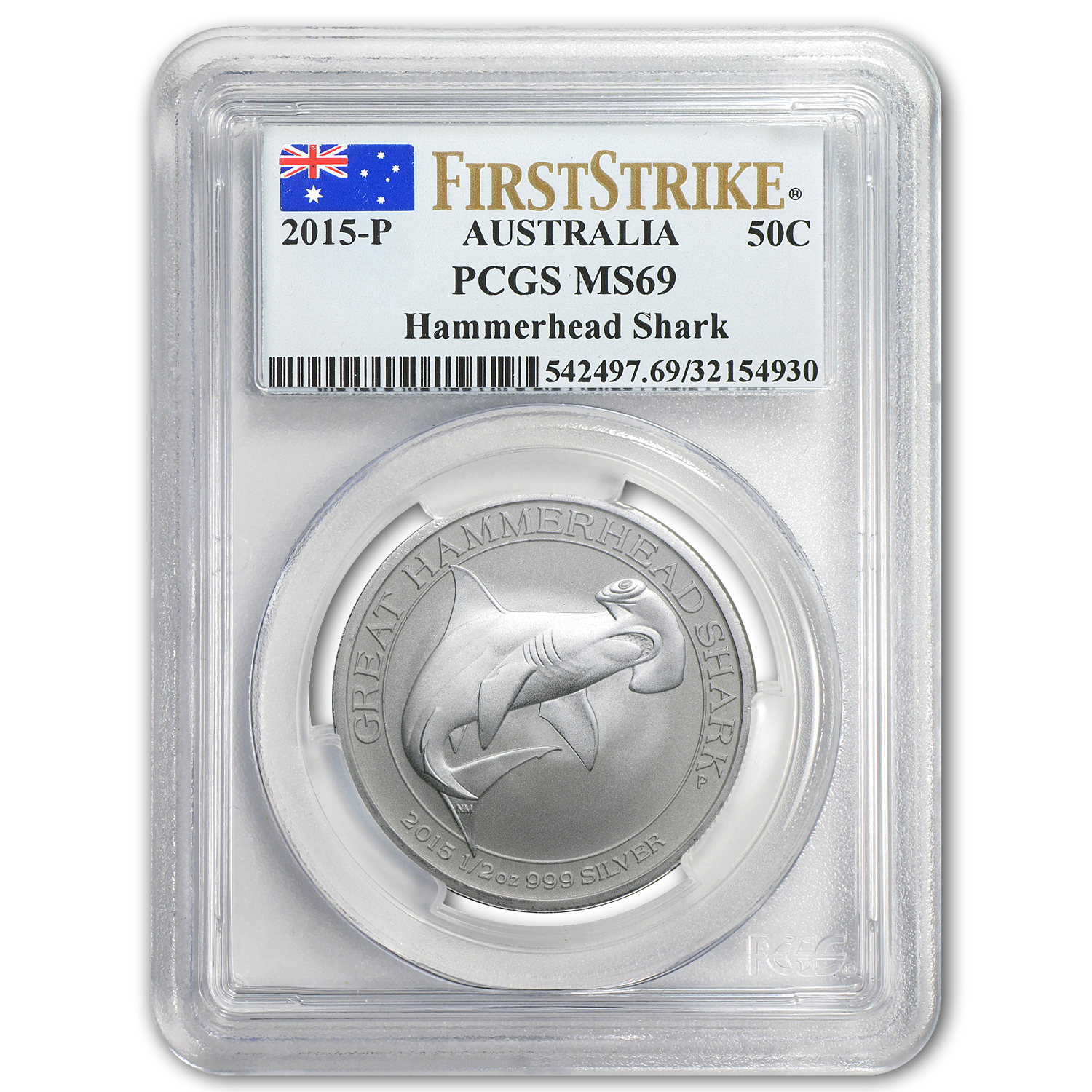 2015 1/2 oz Silver Great Hammerhead Shark MS-69 PCGS (FS)