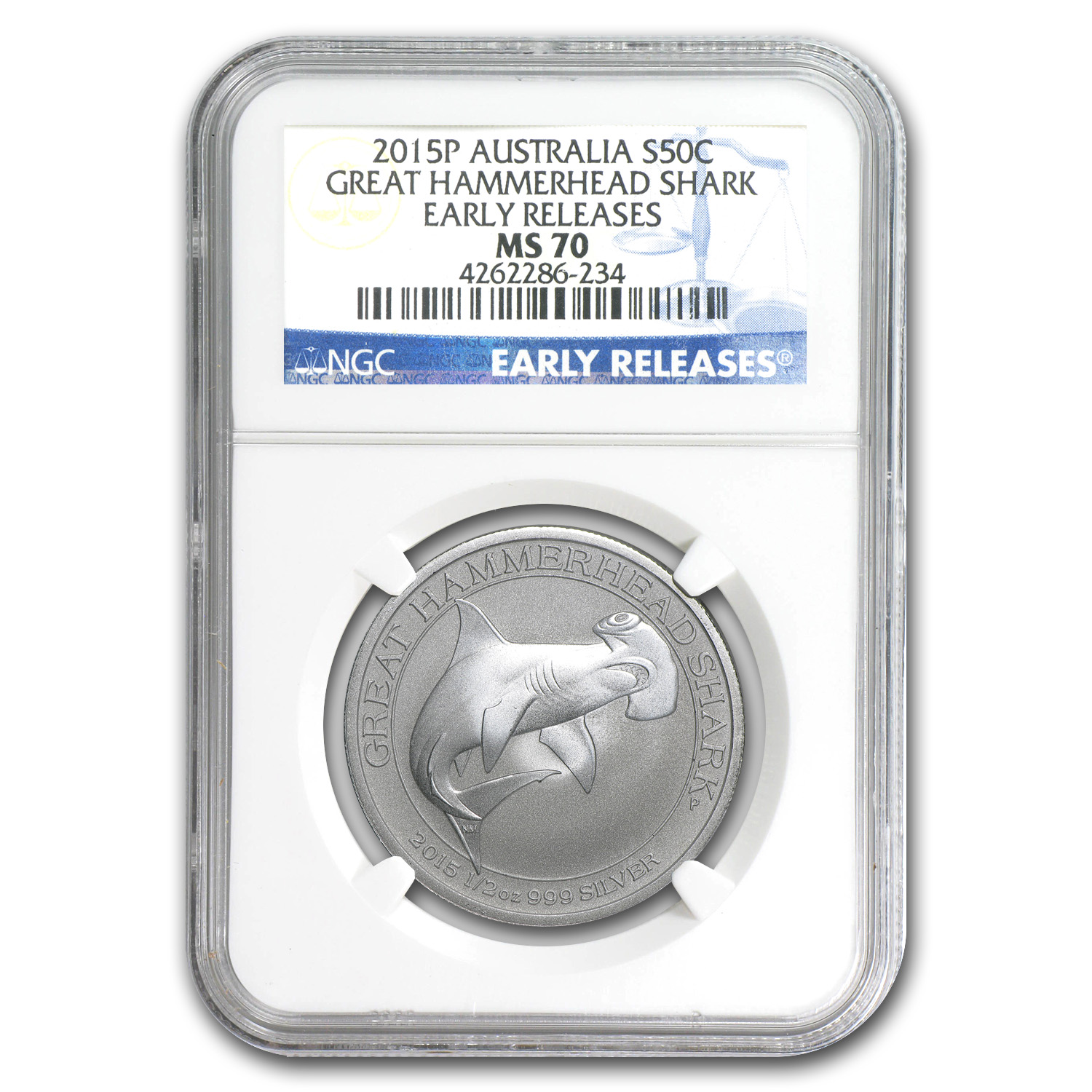 2015 1/2 oz Silver Great Hammerhead Shark MS-70 NGC (ER)
