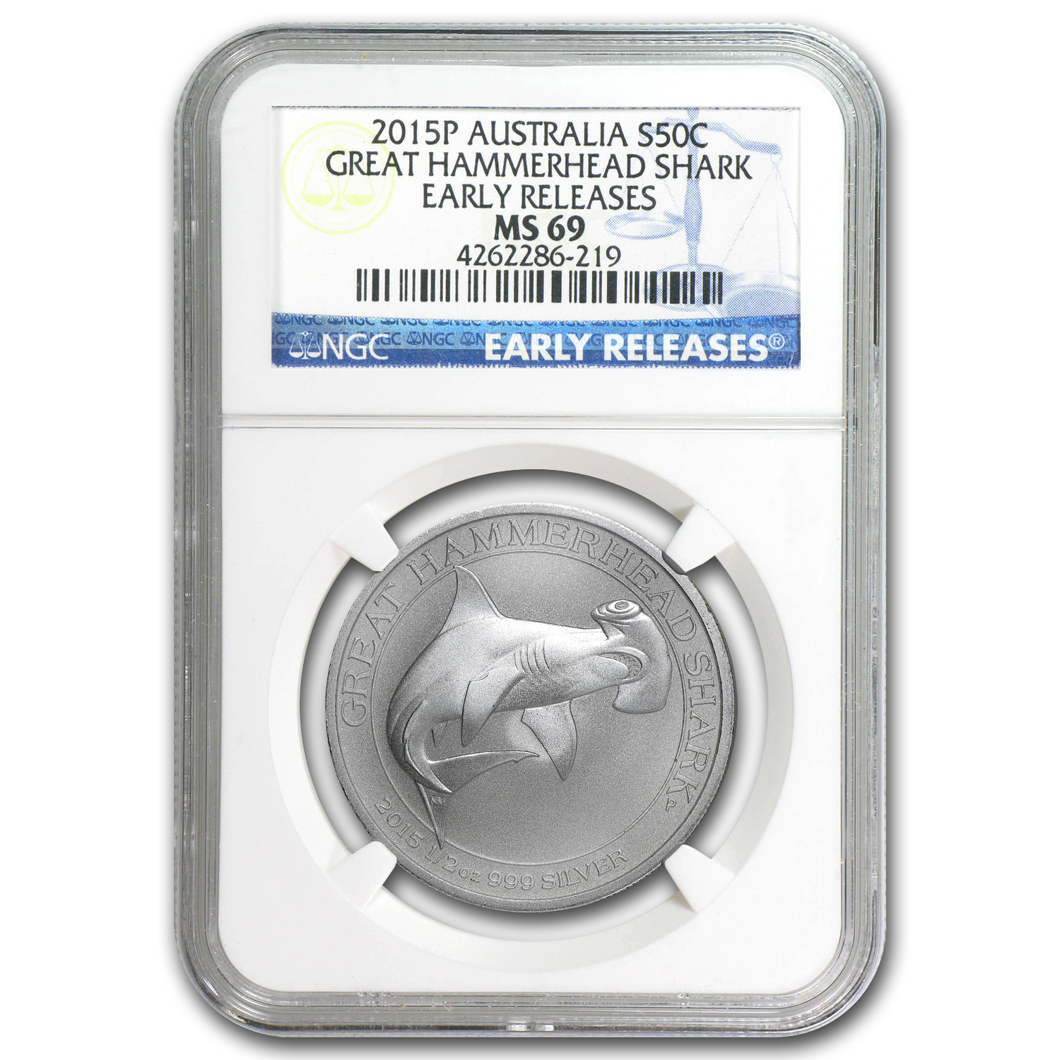 2015 1/2 oz Silver Great Hammerhead Shark MS-69 NGC (ER)