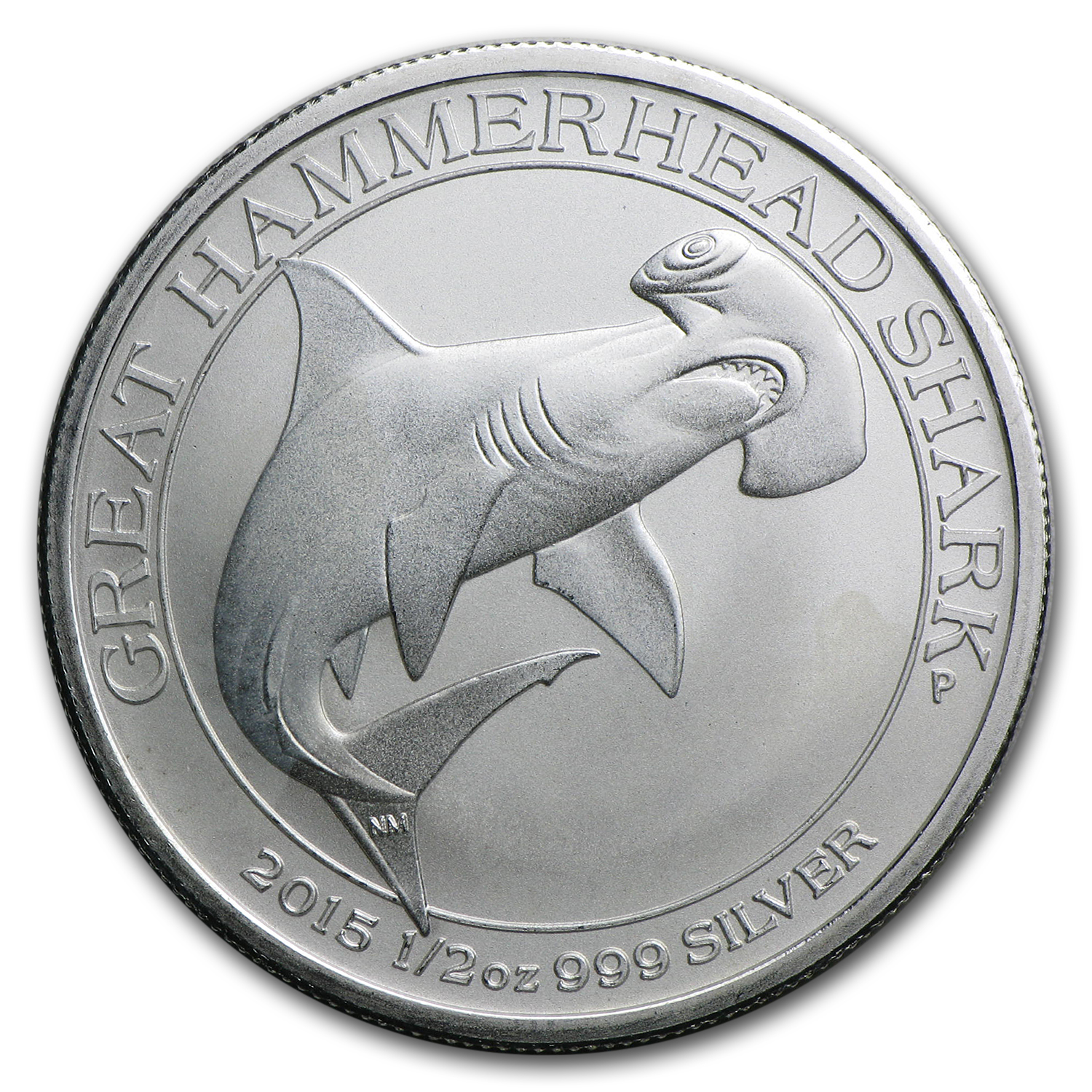 2015 1/2 oz Silver Great Hammerhead Shark (Abrasions)