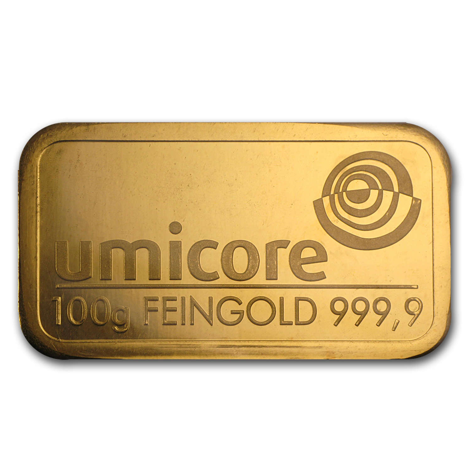 100 gram Gold Bar - Umicore (Pressed)