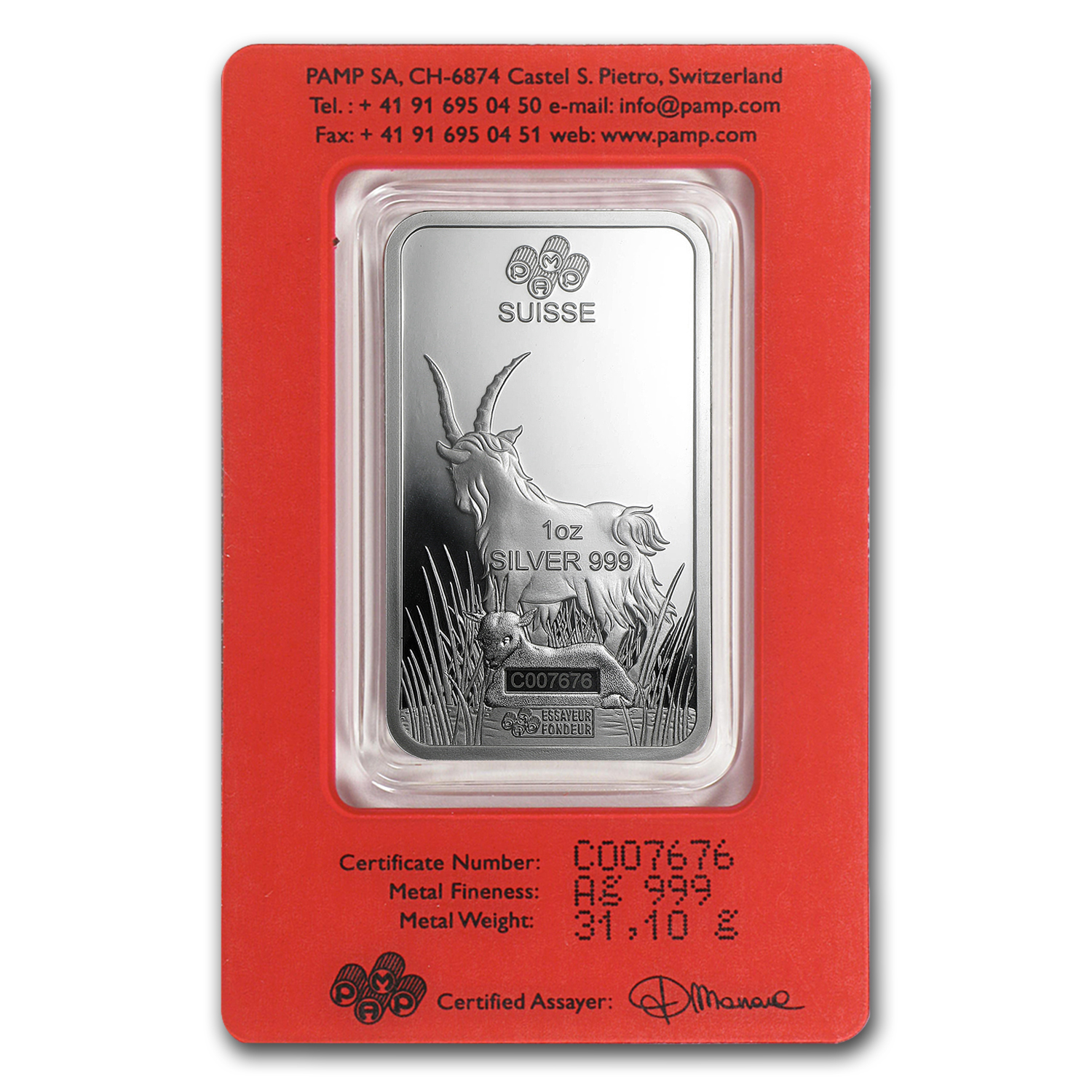1 Oz Silver Bar Pamp Suisse Year Of The Goat Pamp