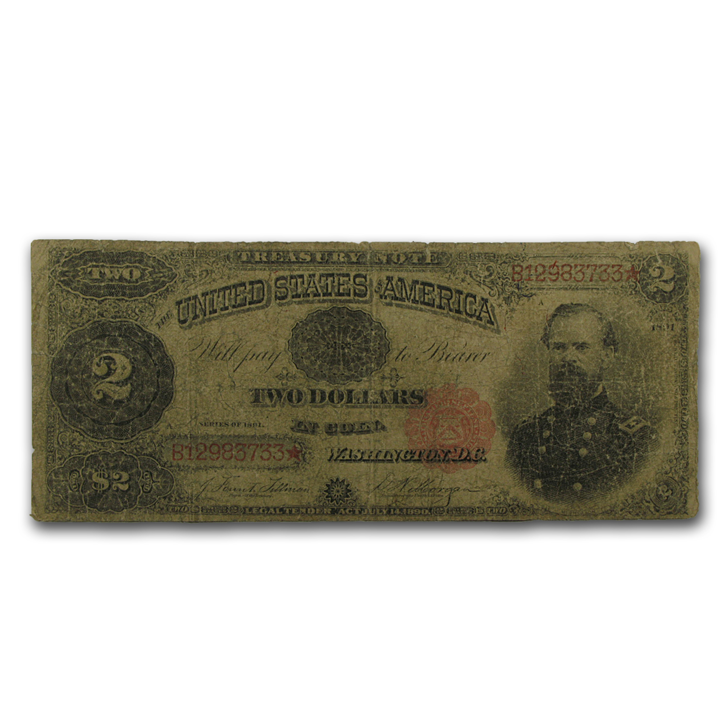 1891 $2 Treasury Note - VG