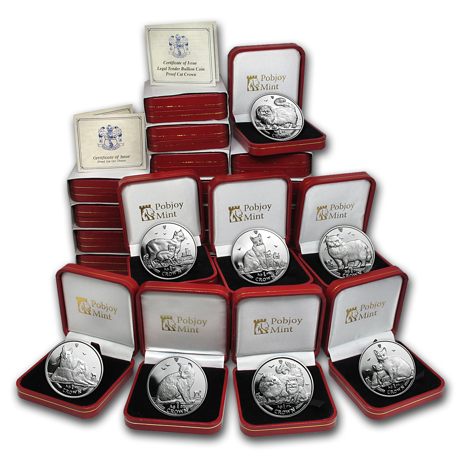 Isle of Man 1988-2014 27-Coin 1 oz Silver Cat Prf Set (Box & COA)