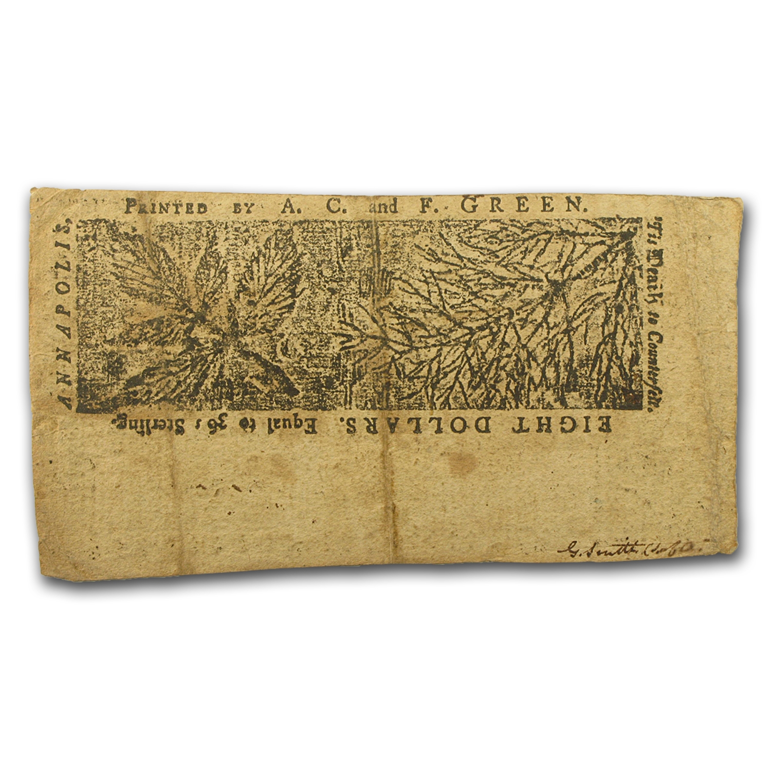 1774 $8 Maryland Currency 4/10/1774 XF