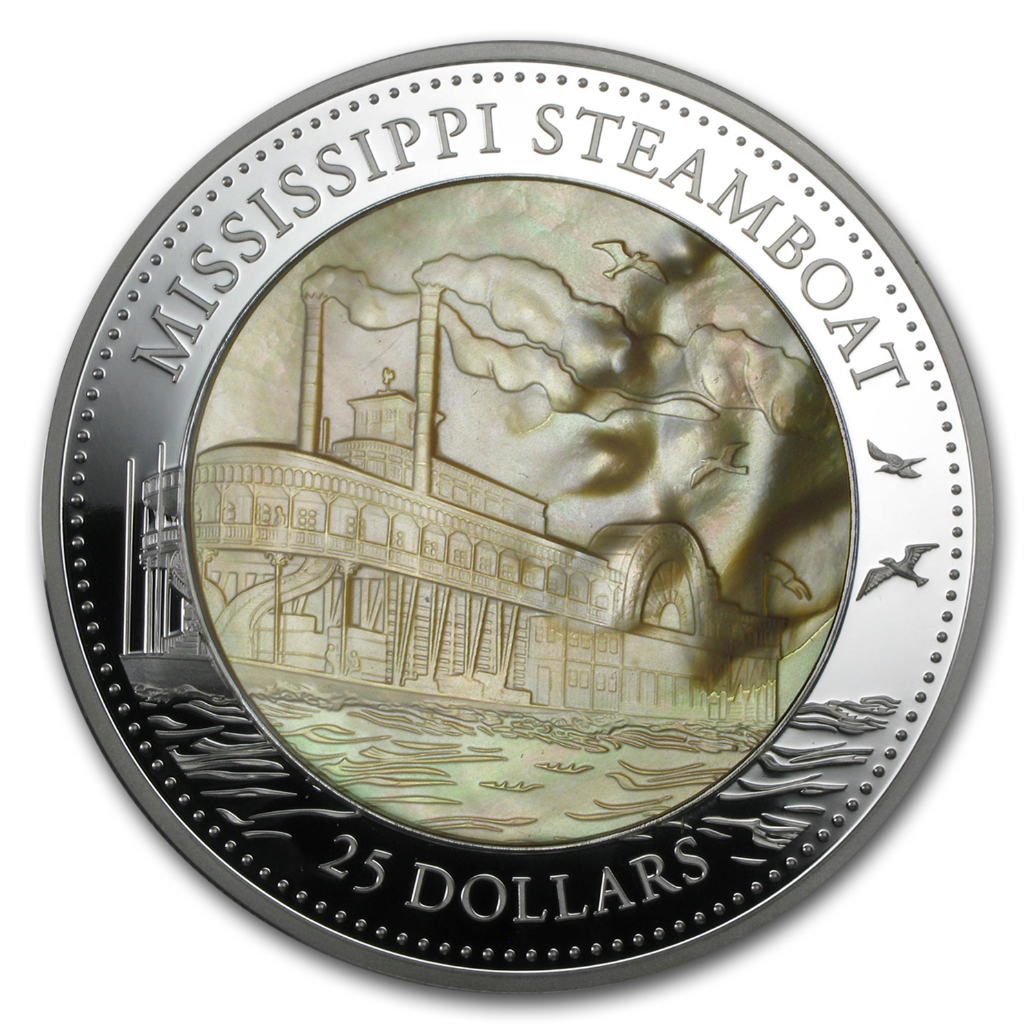 2015 Cook Isl 5 oz Silver Mother of Pearl Mississippi Steamboat
